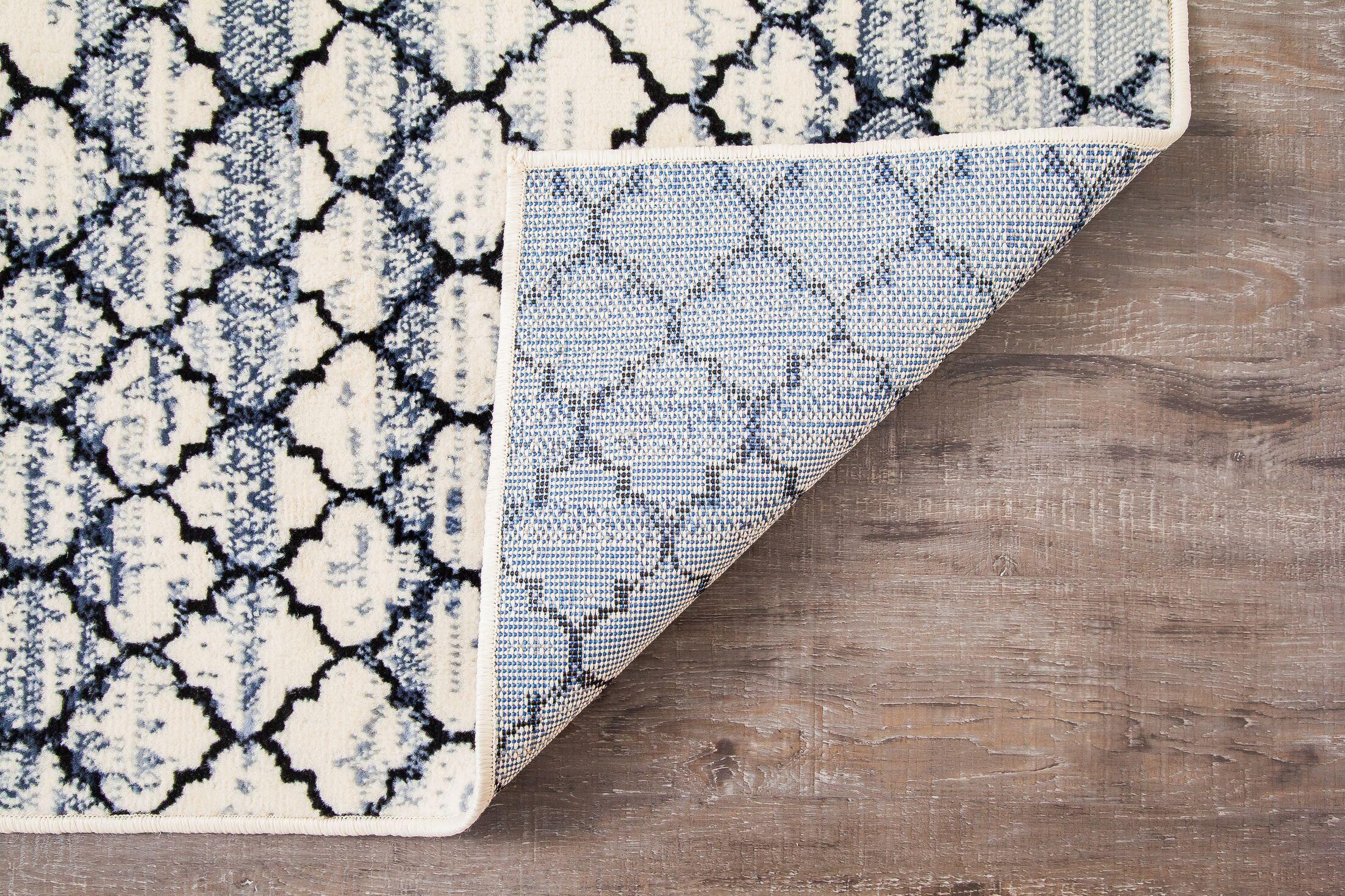 Macclenny Lattice Abrash Black/Ivory Area Rug Rug Size: Rectangle 8' x 10'