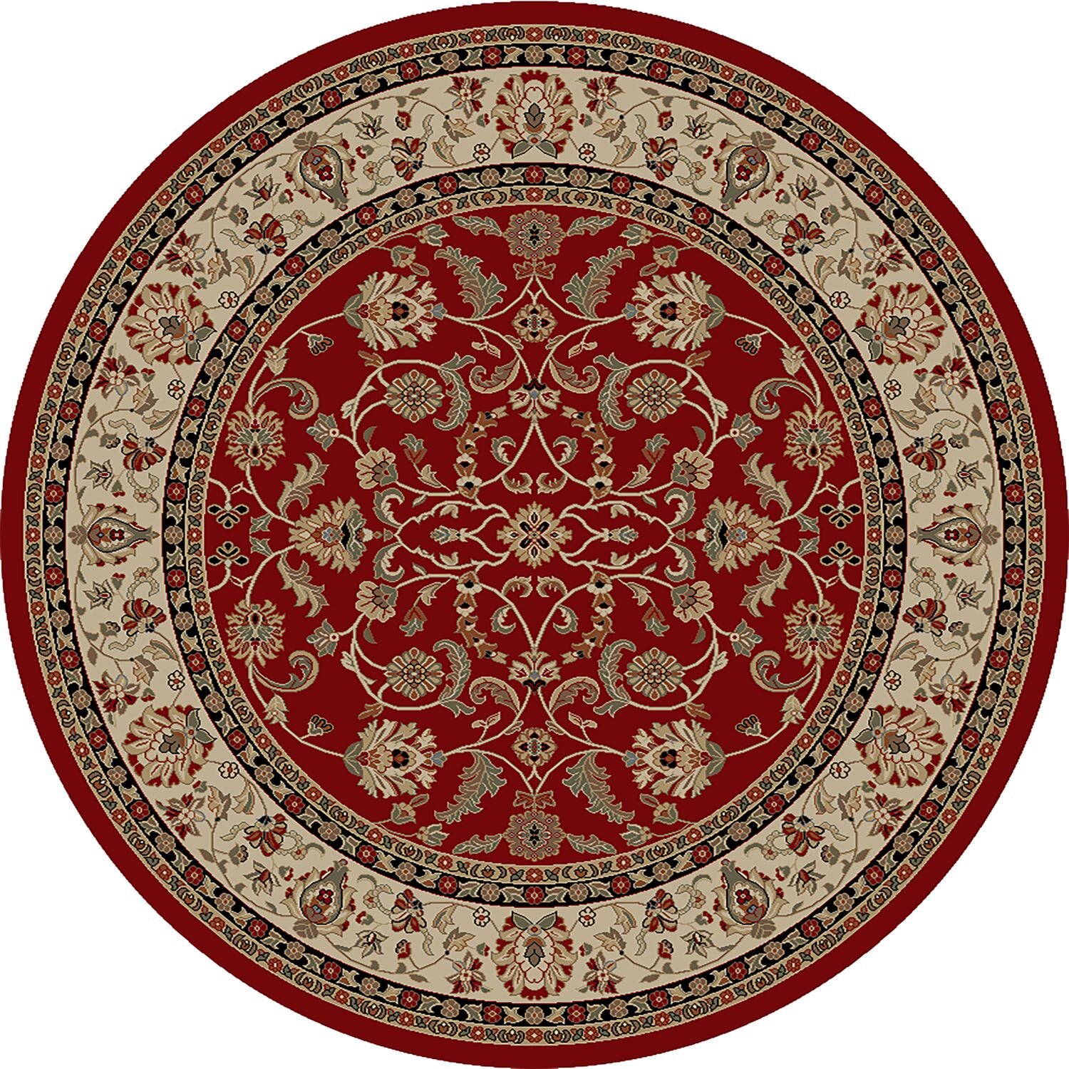 Hometown Classic Keshan Claret Area Rug Rug Size: Round 8'