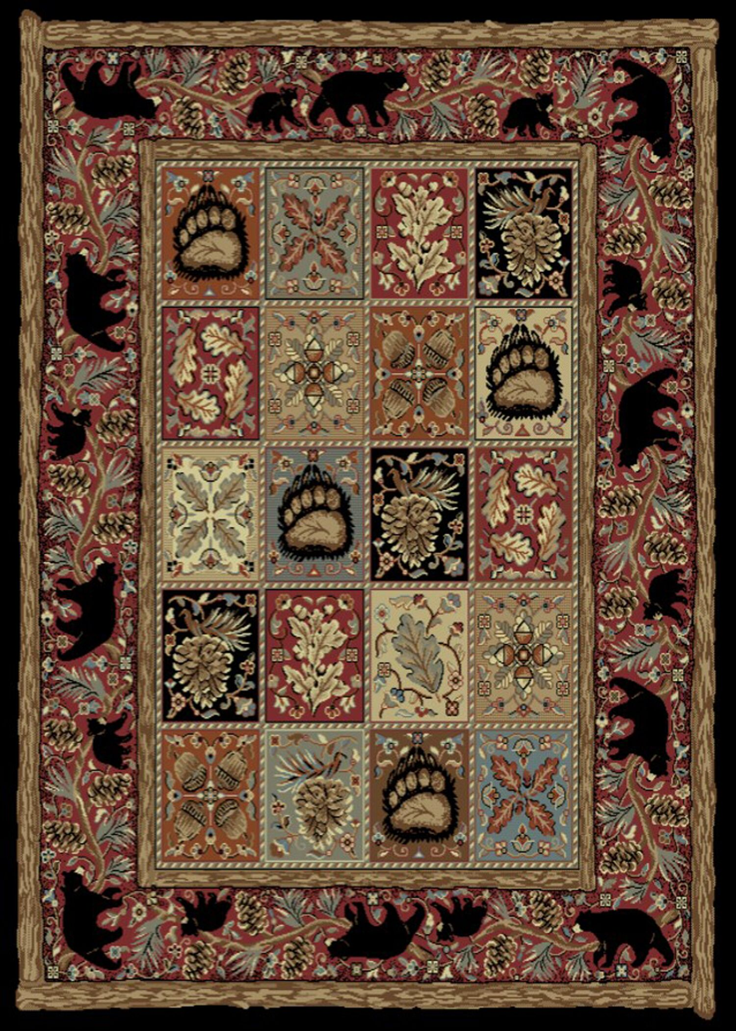 American Destinations Red/Black Area Rug Rug Size: Rectangle 8' x 10'