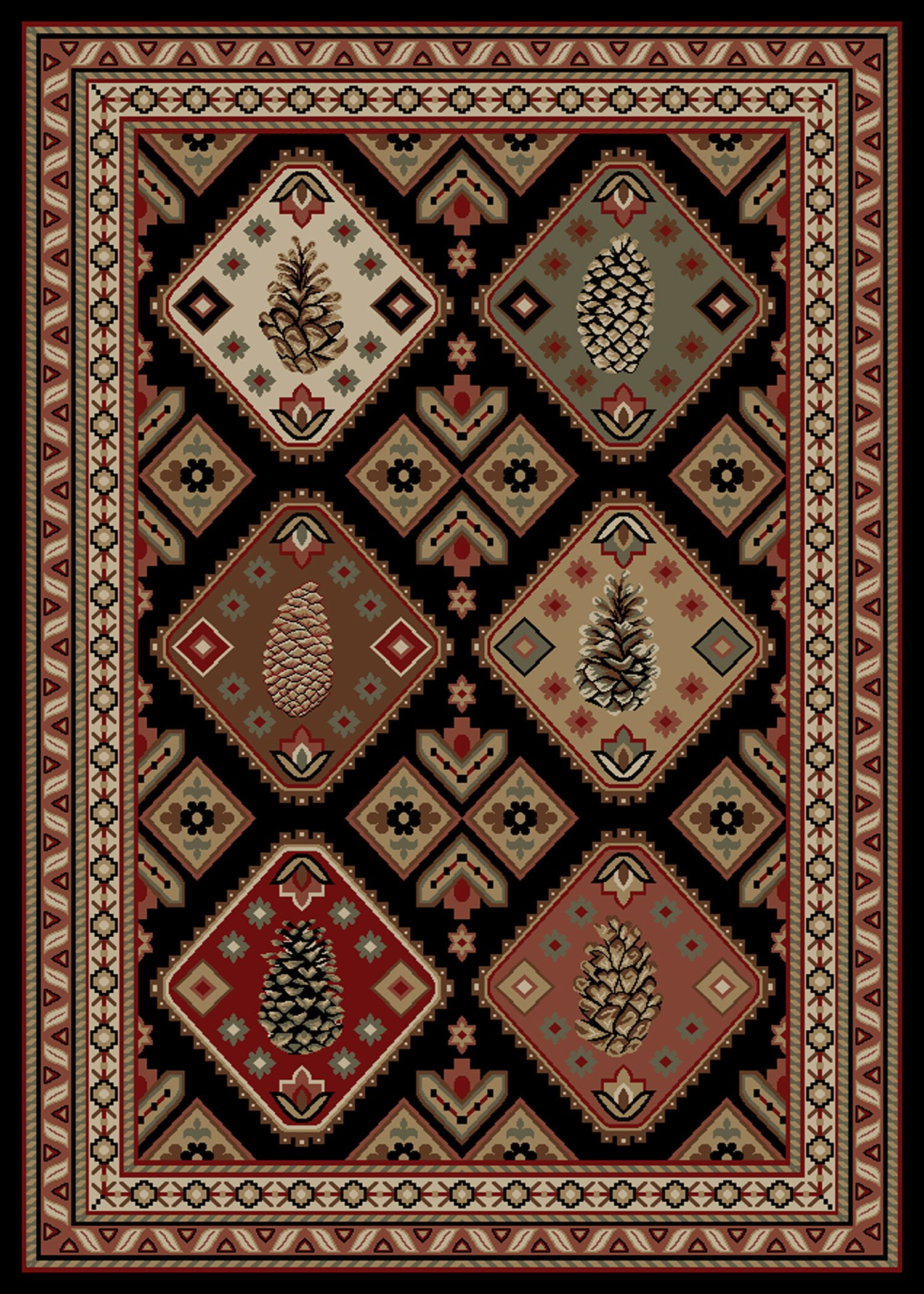 American Destinations Black/Brown Area Rug Rug Size: Rectangle 8' x 10'
