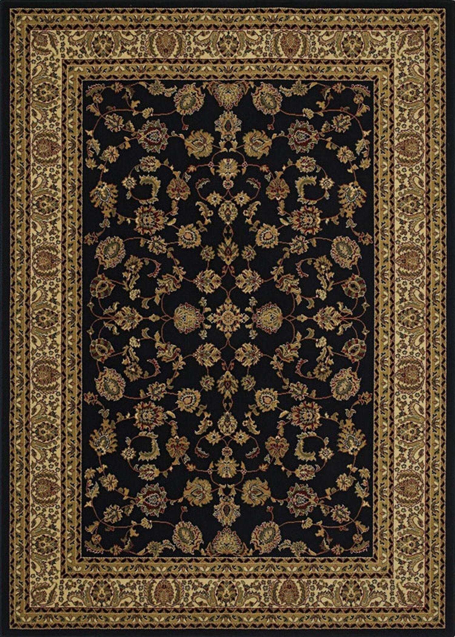 Heritage Elegant Keshan Ebony Area Rug Rug Size: Rectangle 10'6