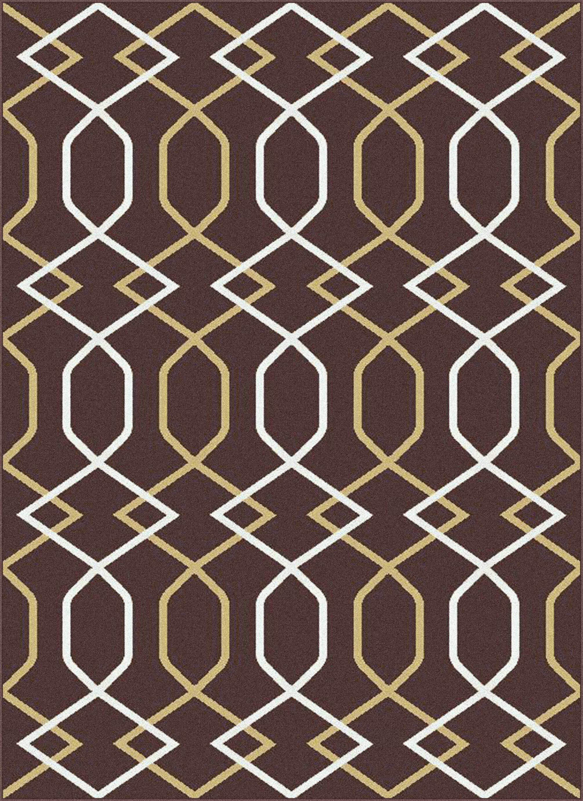 Urban Contemporary Lines Brown Area Rug Rug Size: Rectangle 5'3