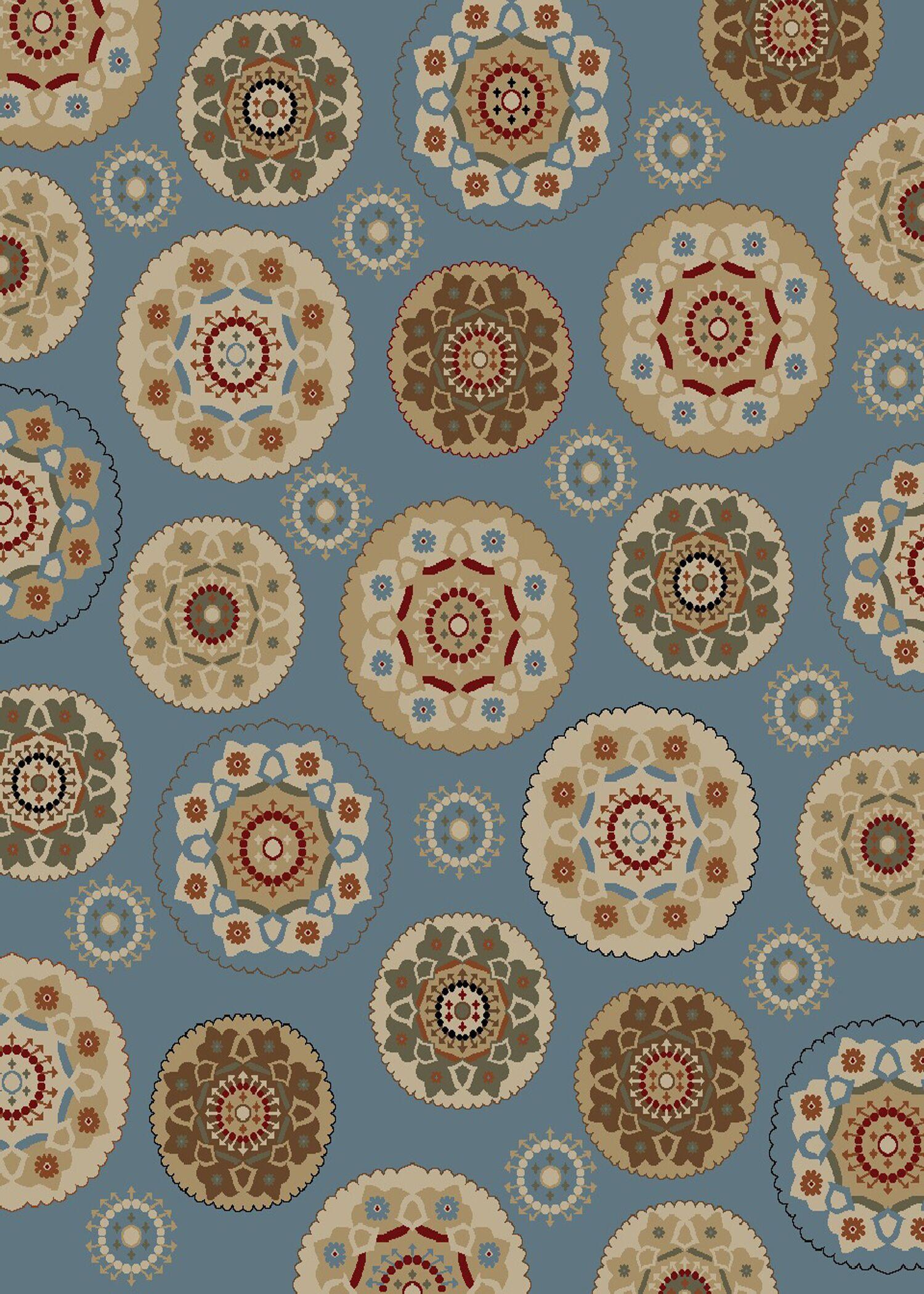Timeless Blue Deco Pinwheel Area Rug Rug Size: Rectangle 8' x 10'