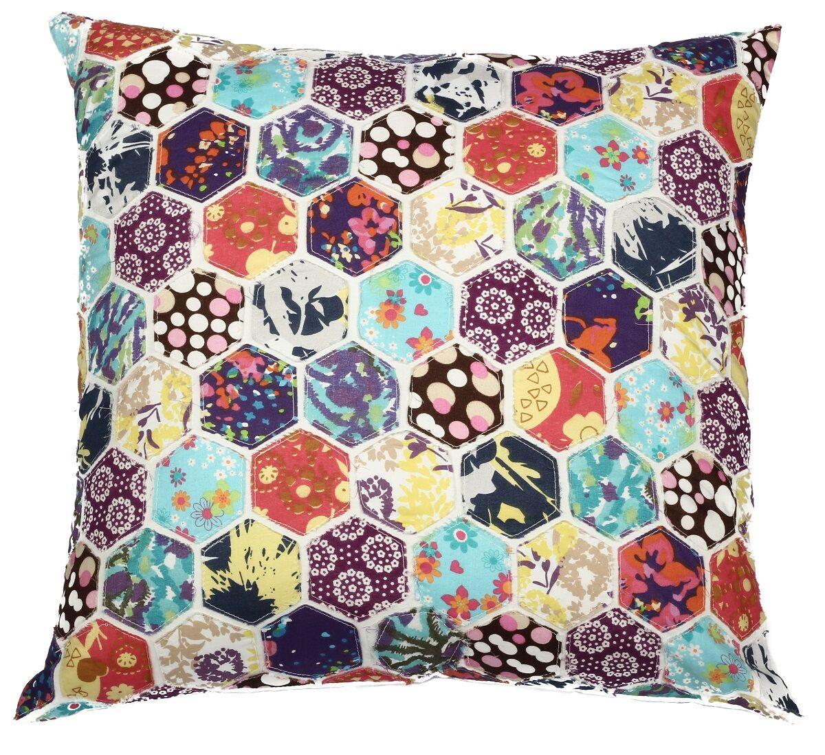 Potpourri Hexagon Patchwork Cotton Throw Pillow