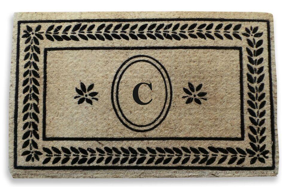 Leaf Border Monogrammed Doormat Letter: C