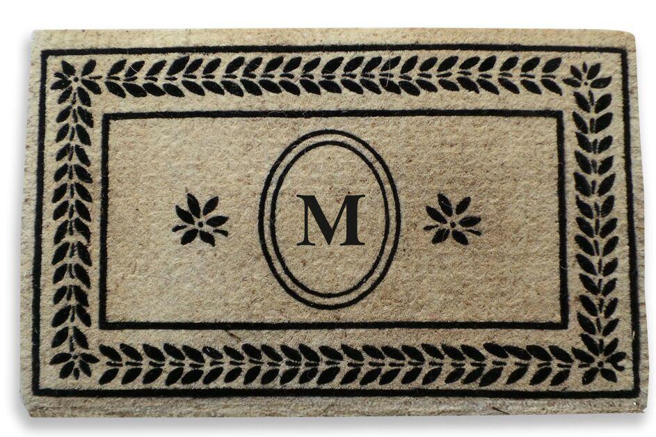 Leaf Border Monogrammed Doormat Letter: M