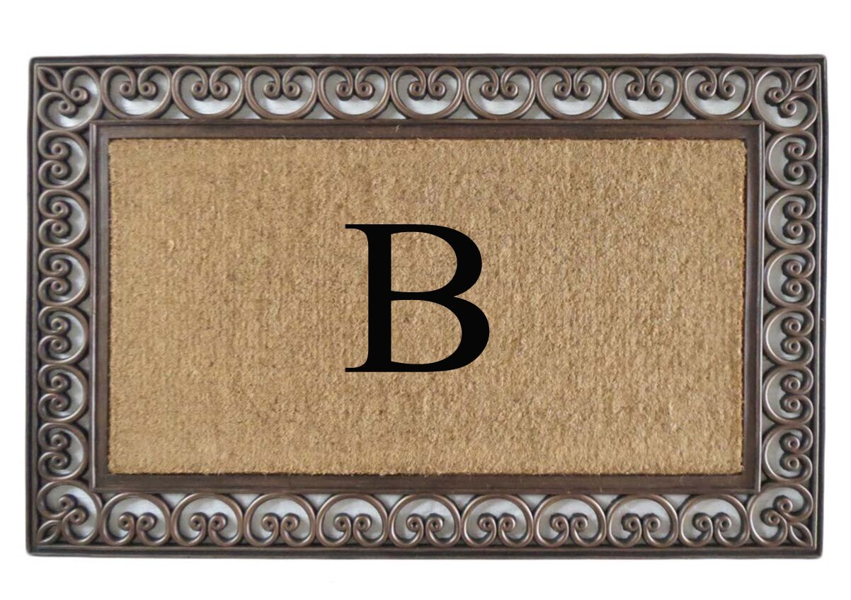 Classic Monogrammed Paisley Border Double Doormat Letter: B
