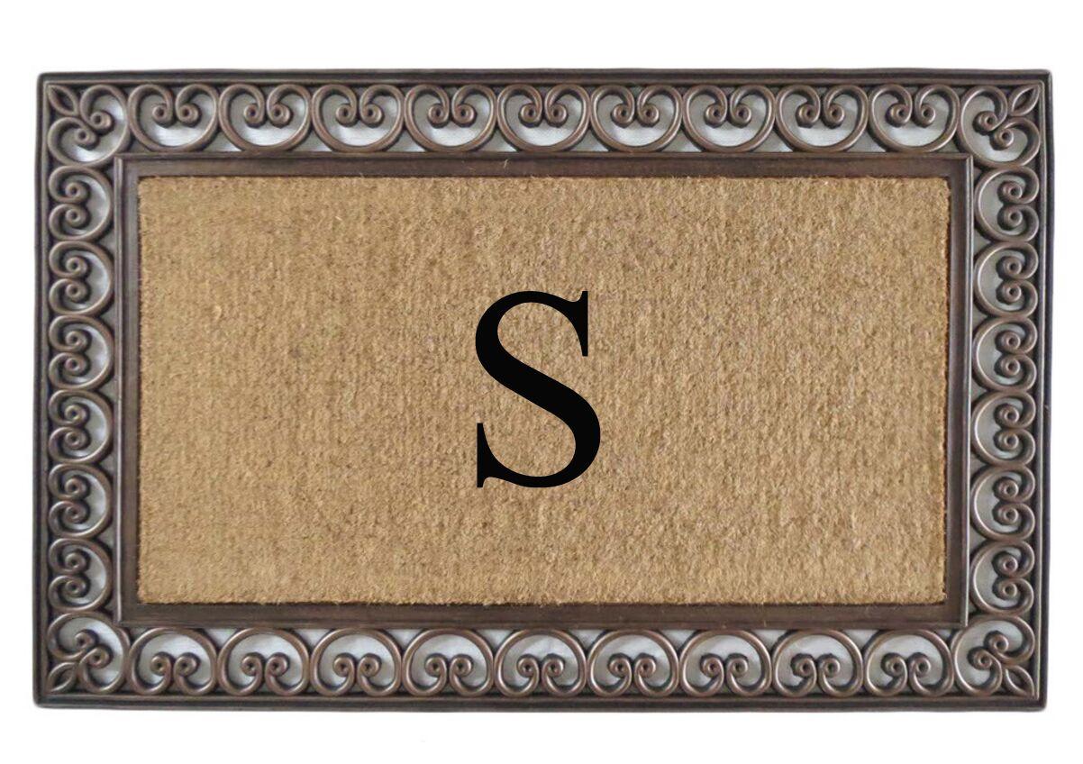 Classic Monogrammed Paisley Border Double Doormat Letter: S