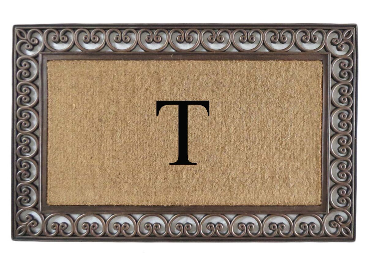 Classic Monogrammed Paisley Border Double Doormat Letter: T