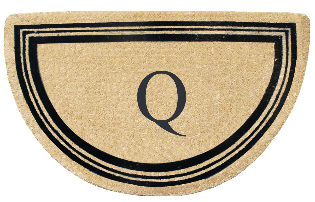 First Impression Engineered Anti Shred Treated Finlay Half Round Monogrammed Doormat Letter: Q