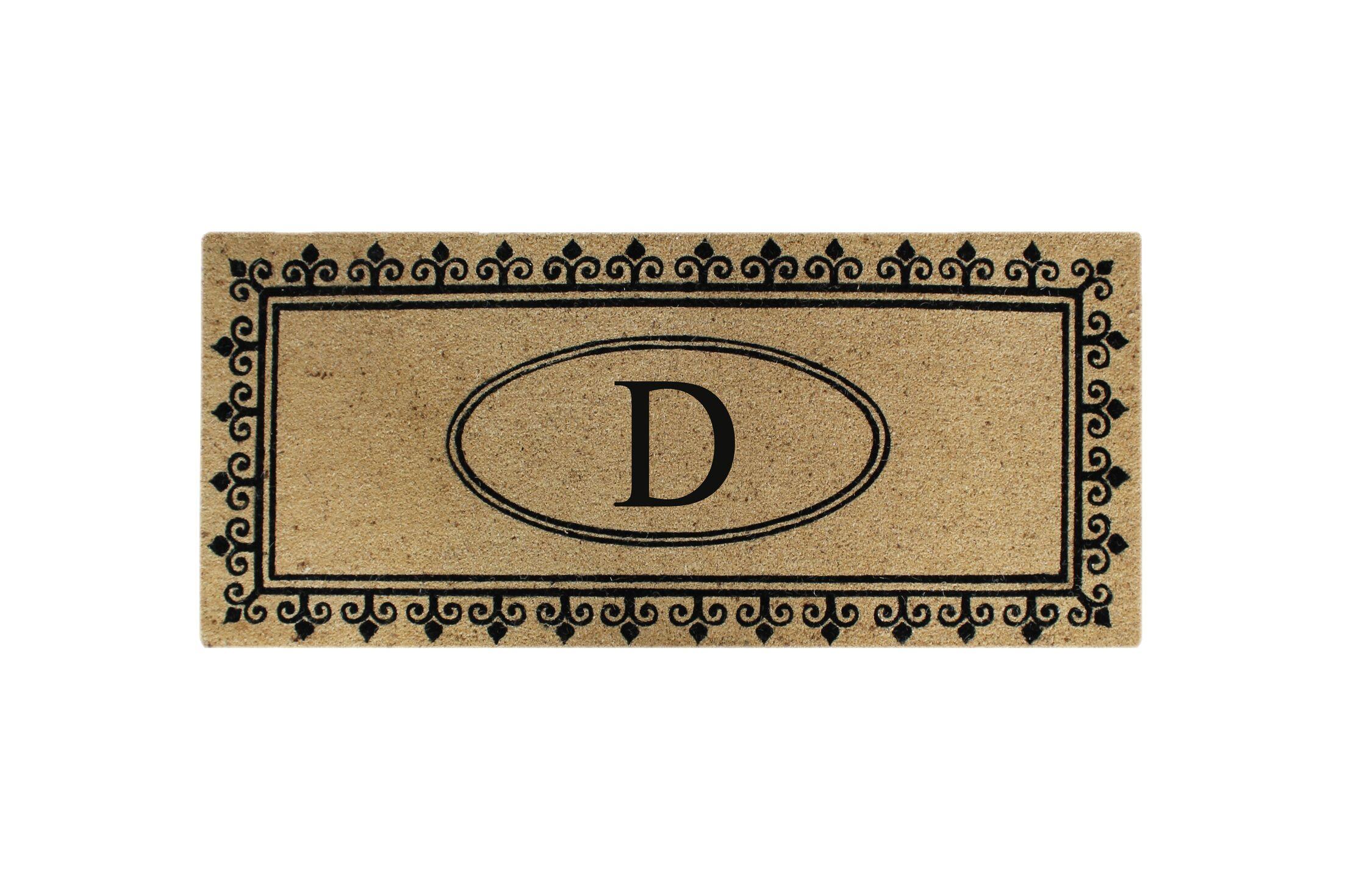 First Impression Quinton Monogrammed Coir Doormat Letter: D