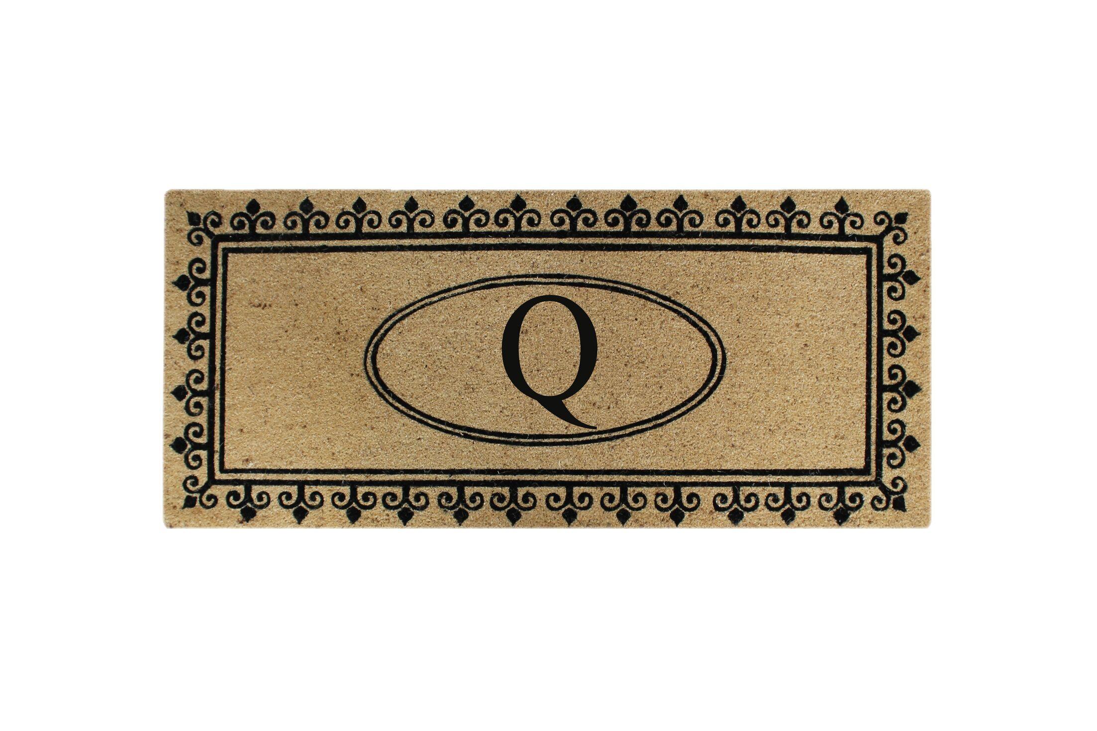 First Impression Quinton Monogrammed Coir Doormat Letter: Q