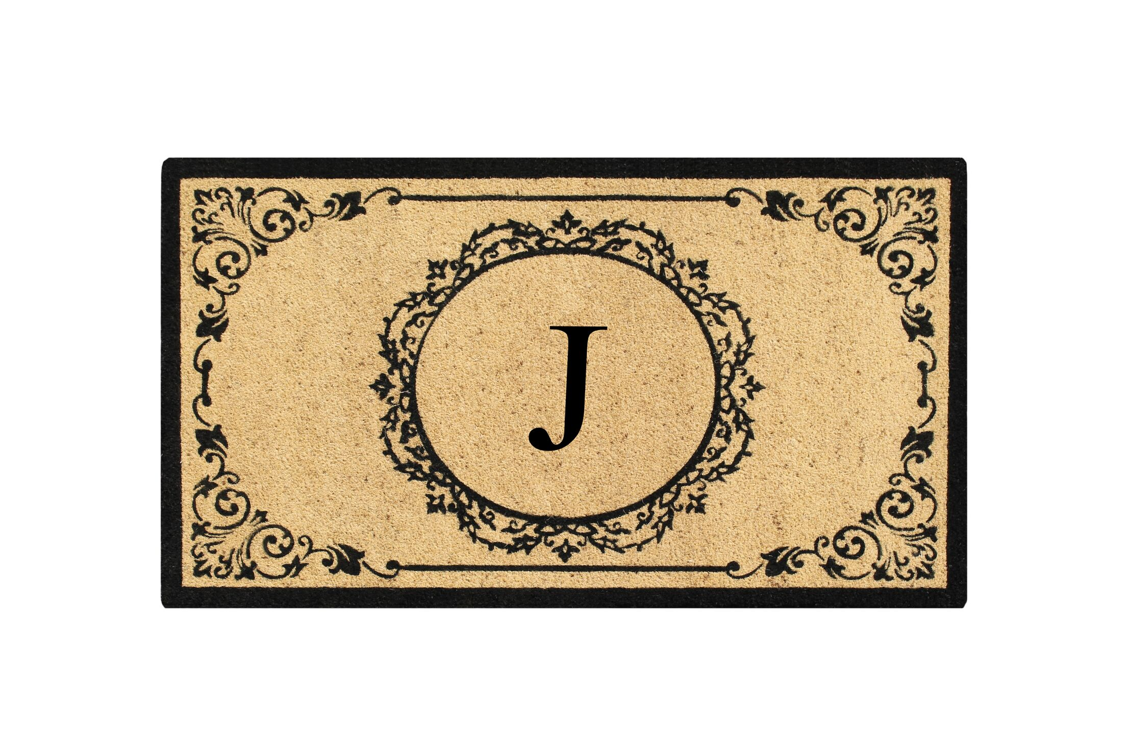 First Impression Engineered Anti Shred Treated Hanna Decorative Border Monogrammed Doormat Letter: J