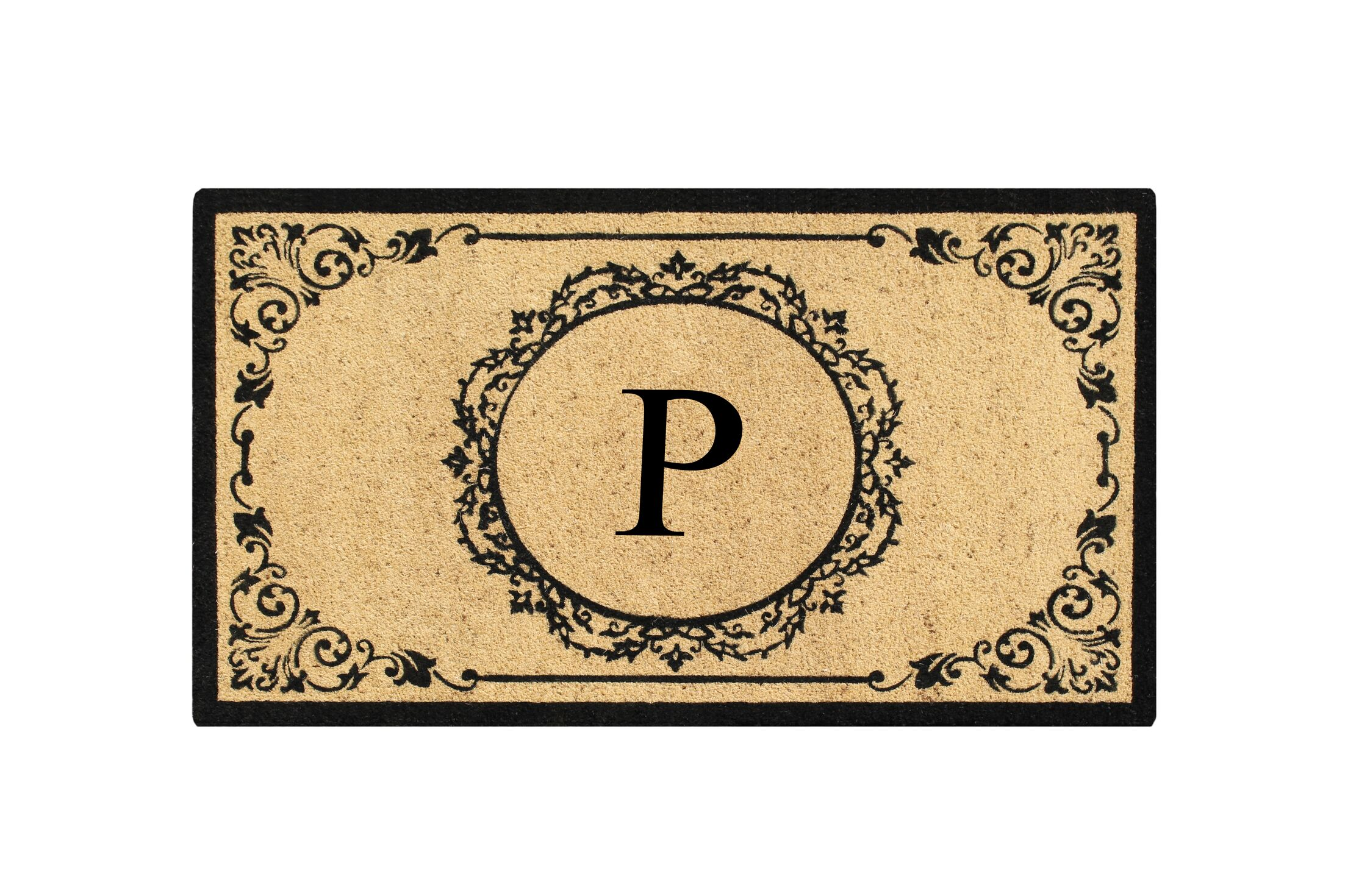 First Impression Engineered Anti Shred Treated Hanna Decorative Border Monogrammed Doormat Letter: P