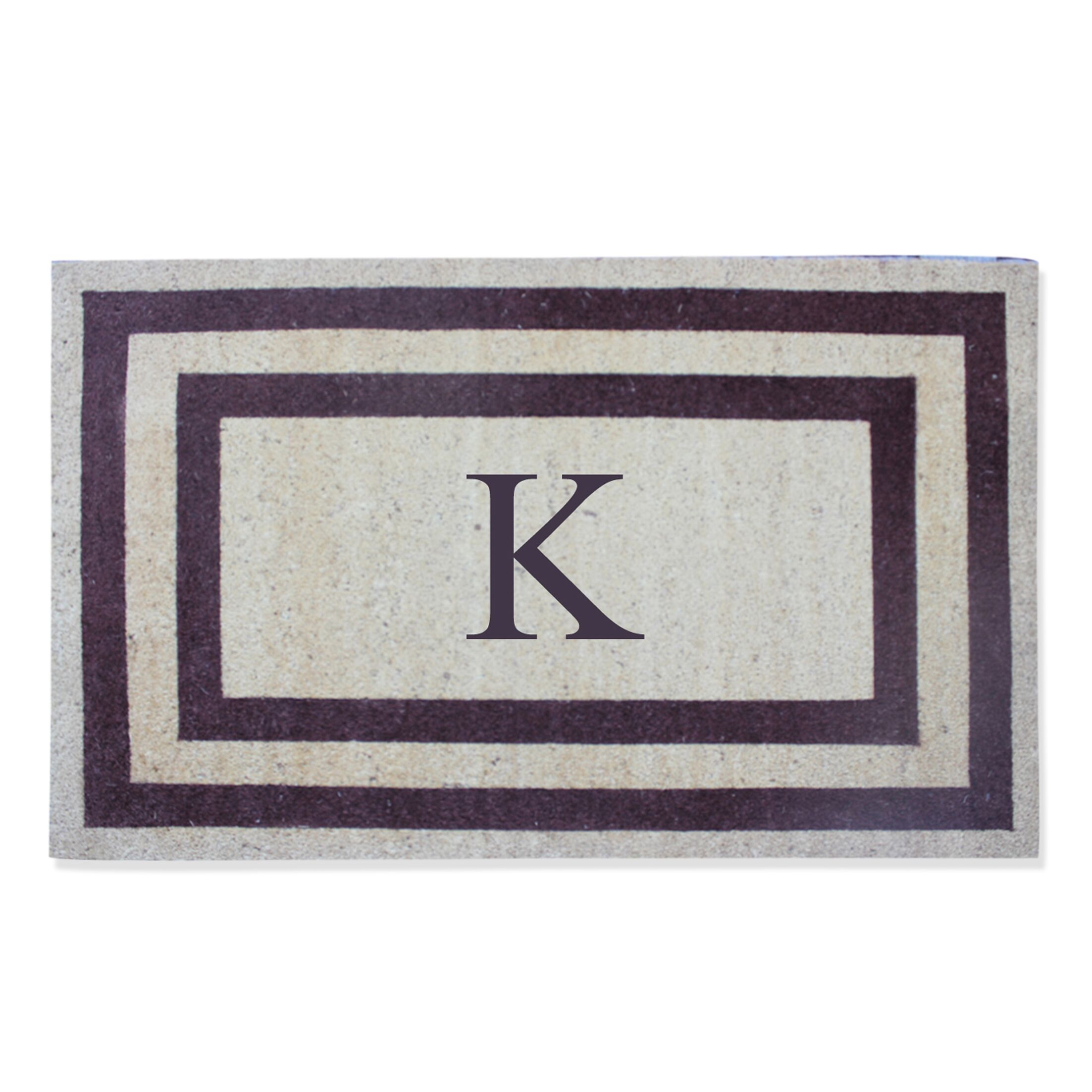 First Impression Engineered Anti Shred Treated Terrance Border Doormat Letter: K