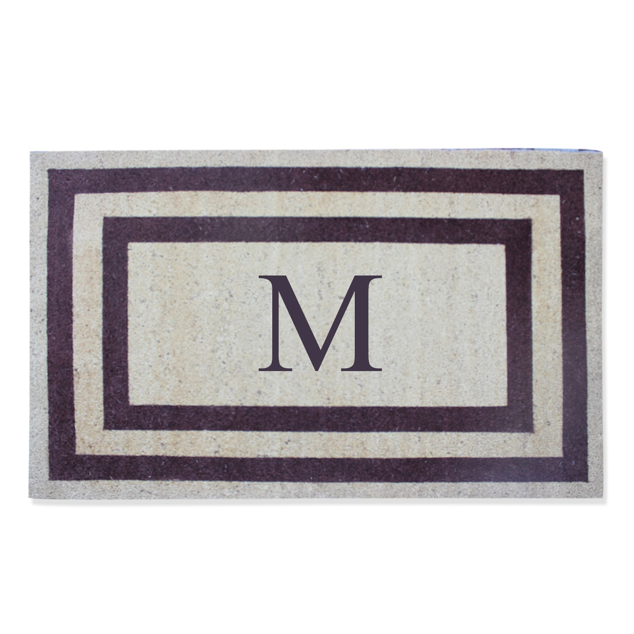 First Impression Engineered Anti Shred Treated Terrance Border Doormat Letter: M