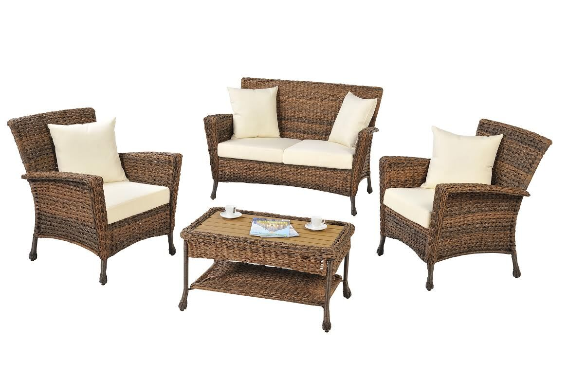 Oph�lie 4 Piece Rattan Sofa Set with Cushions