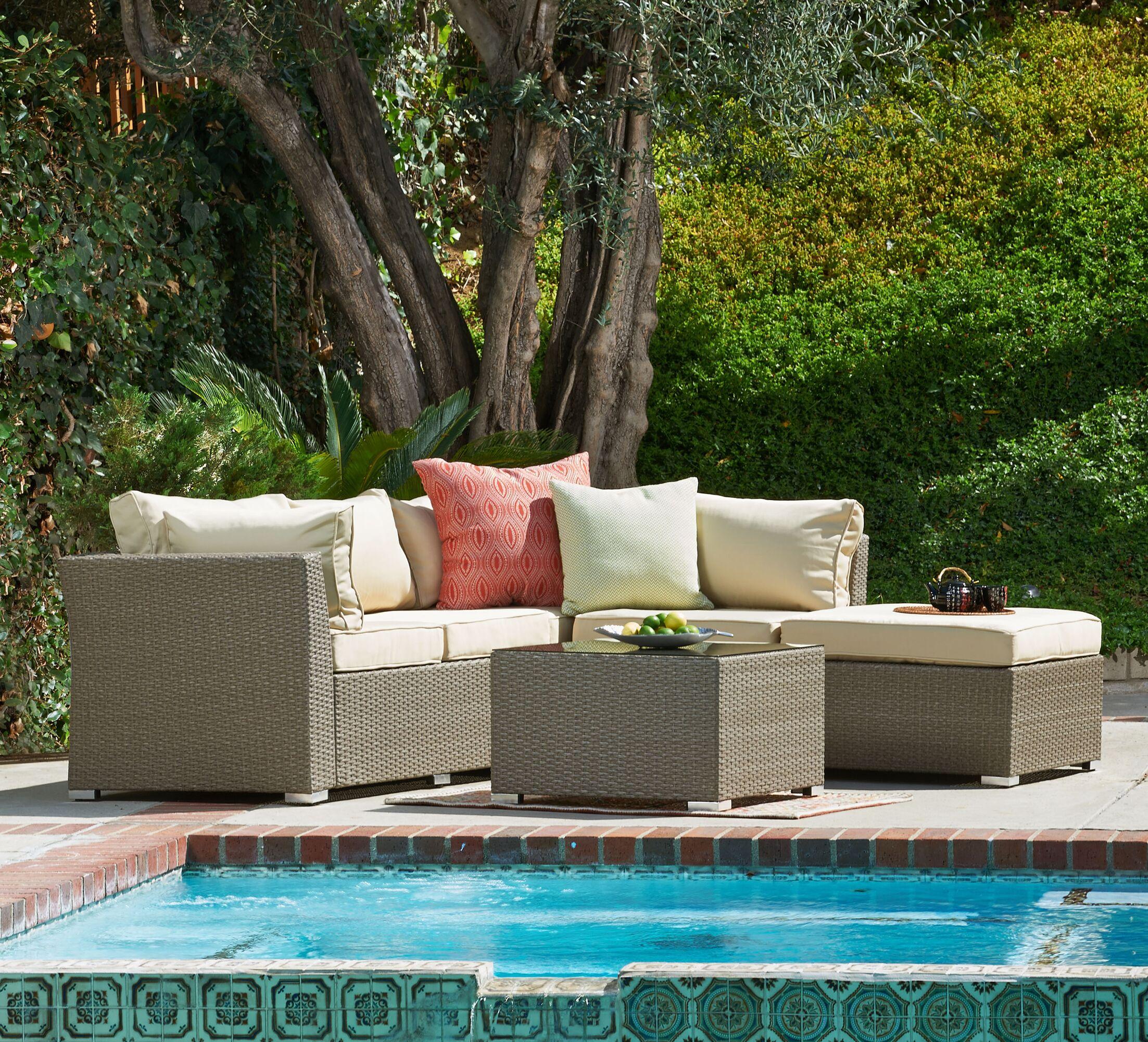 5 Piece Sectional Set Cushion Color: Beige, Frame Color: Dark Brown
