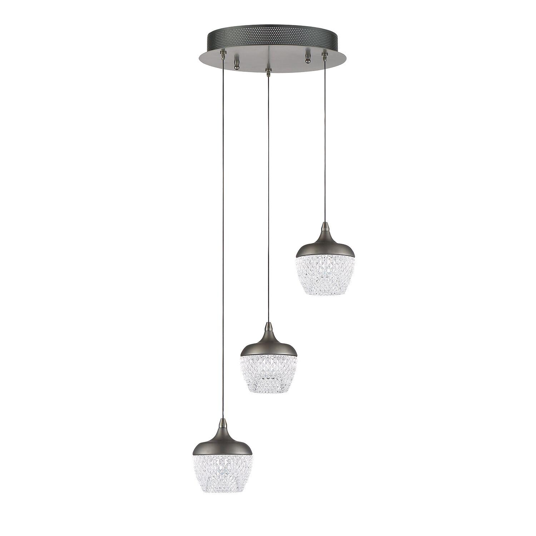 Villegas 3-Light  LED  Pendant Finish: Black Stainless