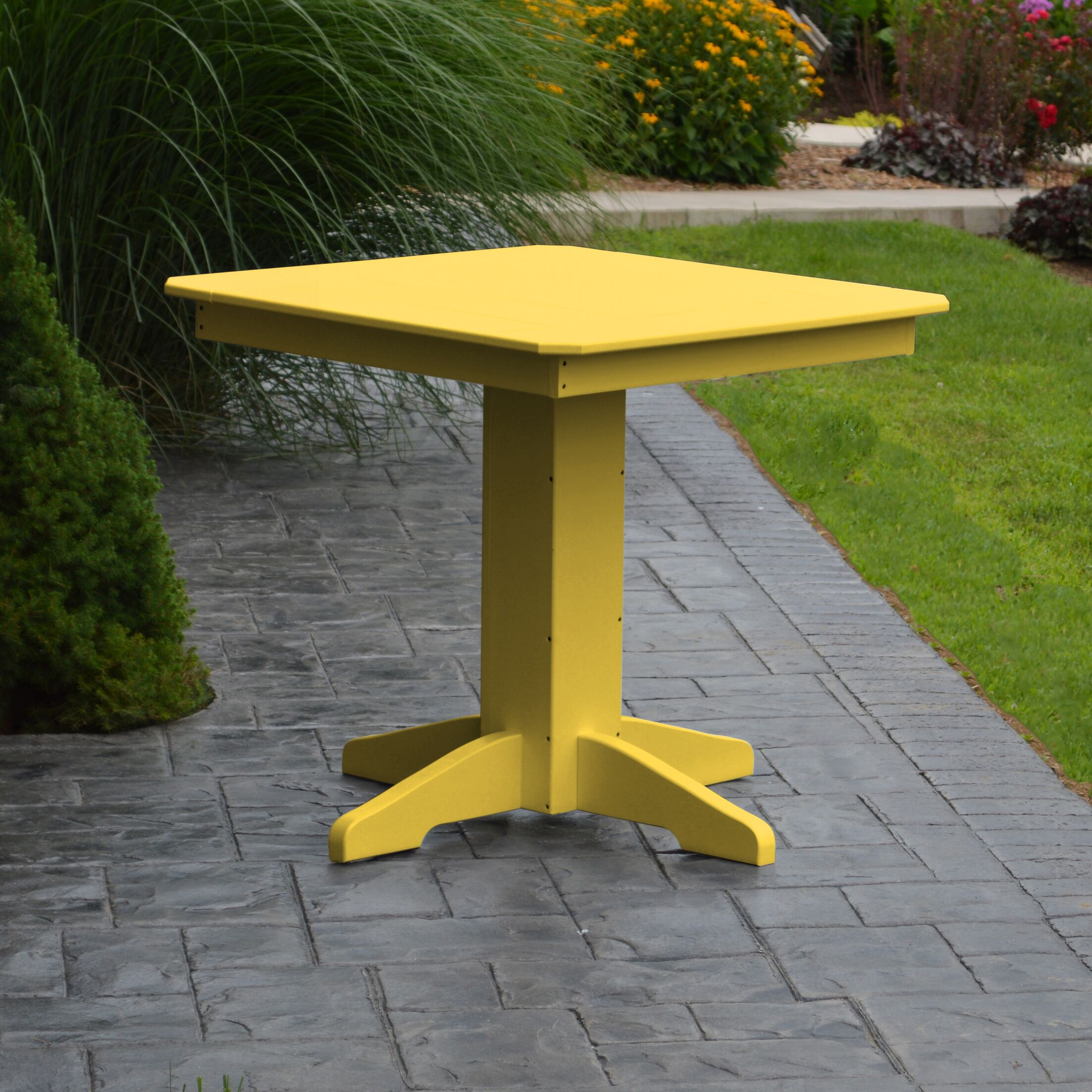 Nettie Dining Table Color: Lemon Yellow, Table Size: 33