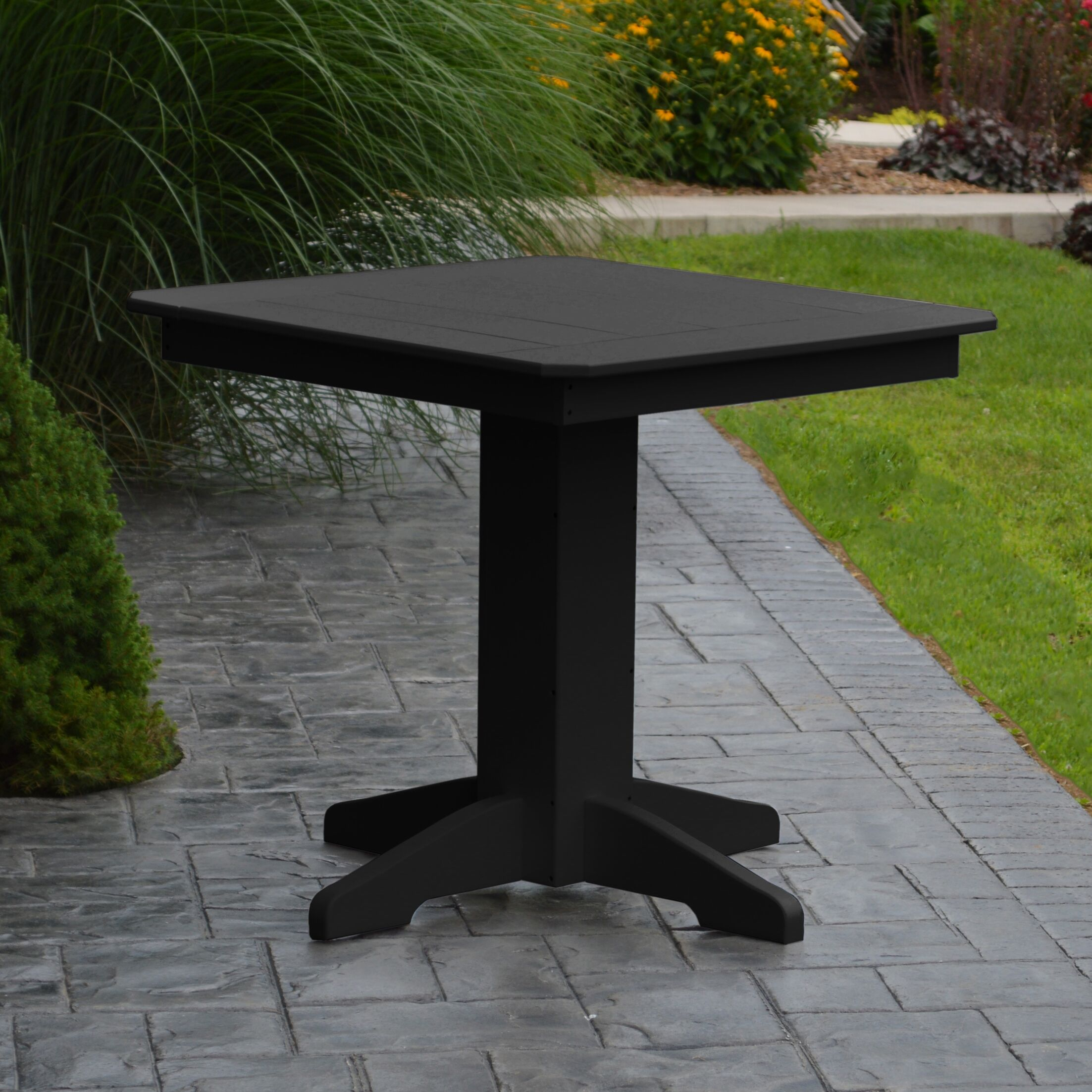 Nettie Dining Table Color: Black, Table Size: 33