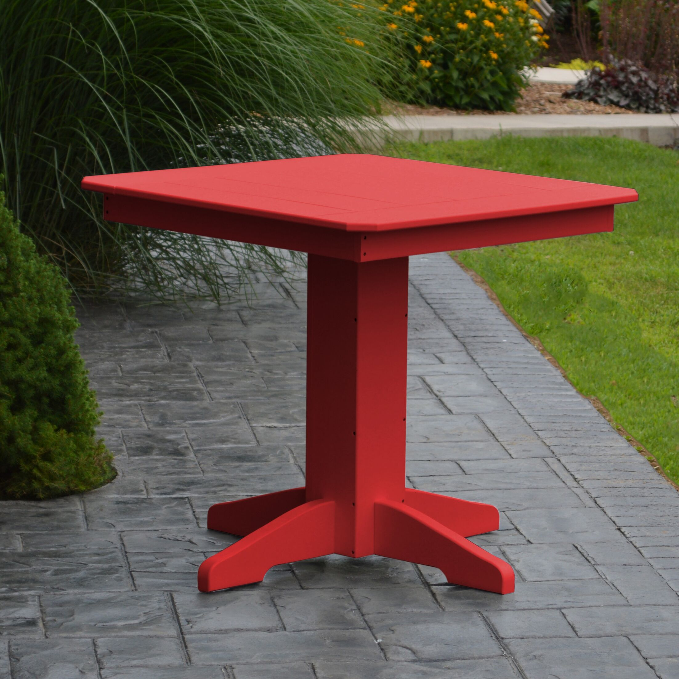 Nettie Dining Table Color: Bright Red, Table Size: 33