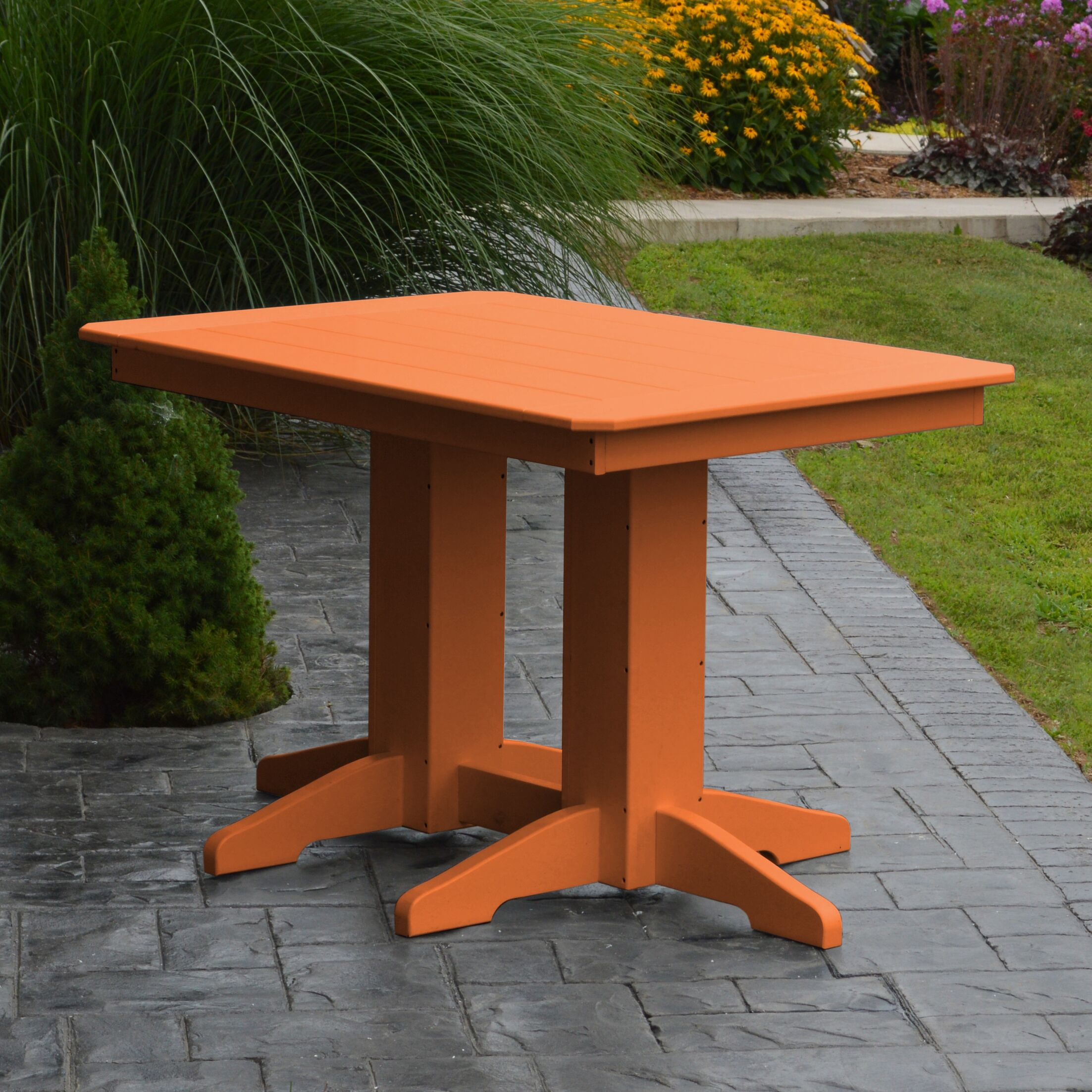Nettie Dining Table Color: Orange, Table Size: 48
