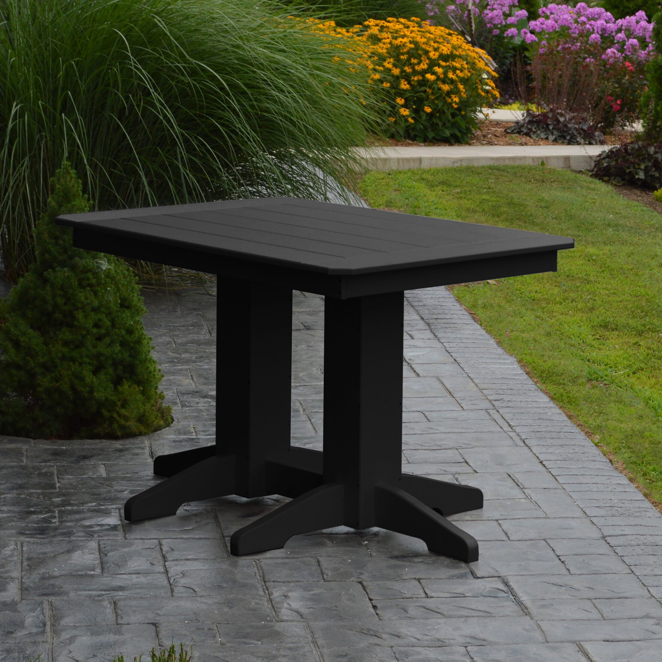 Nettie Dining Table Color: Black, Table Size: 60