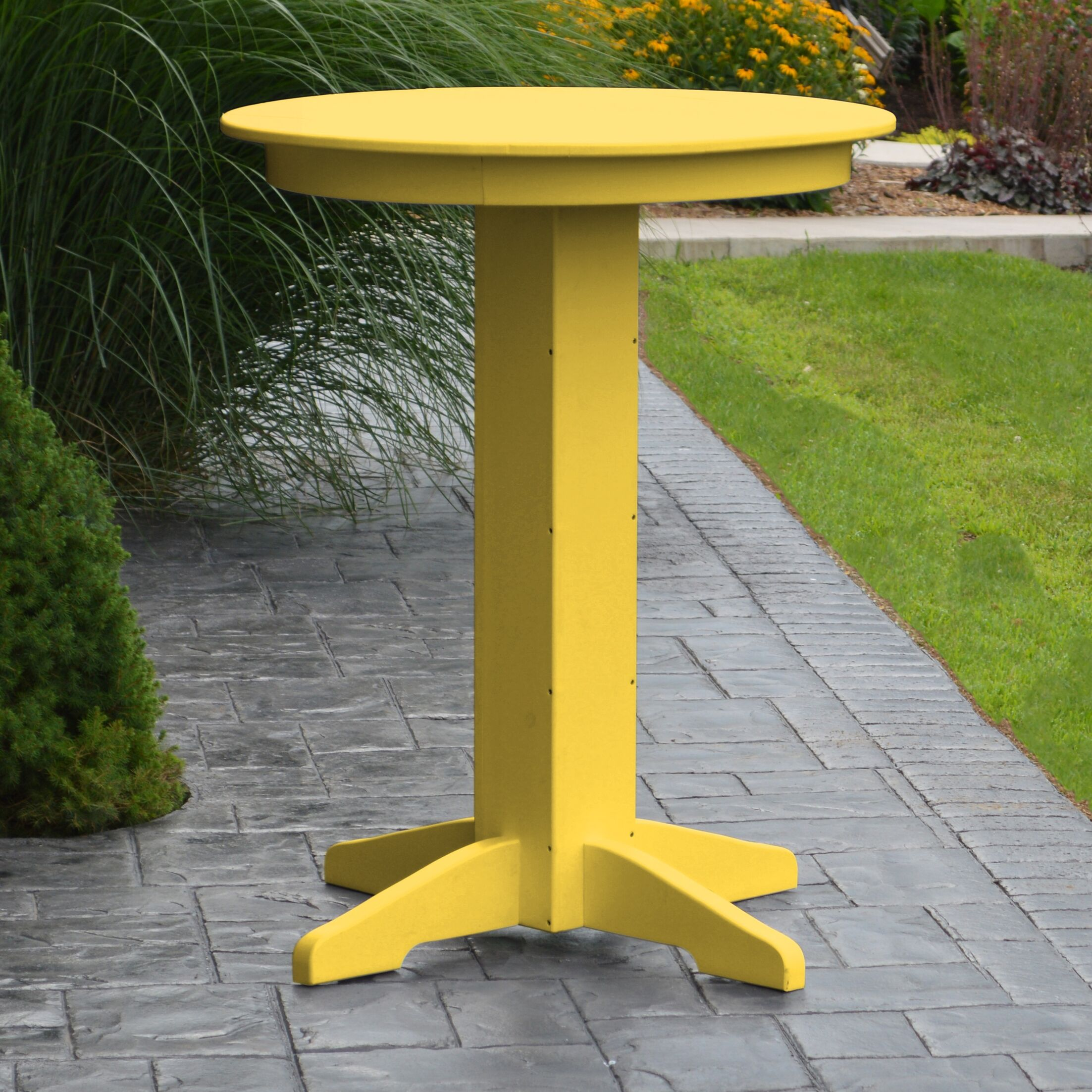 Nettie Bar Table Color: Lemon Yellow, Table Size: 44