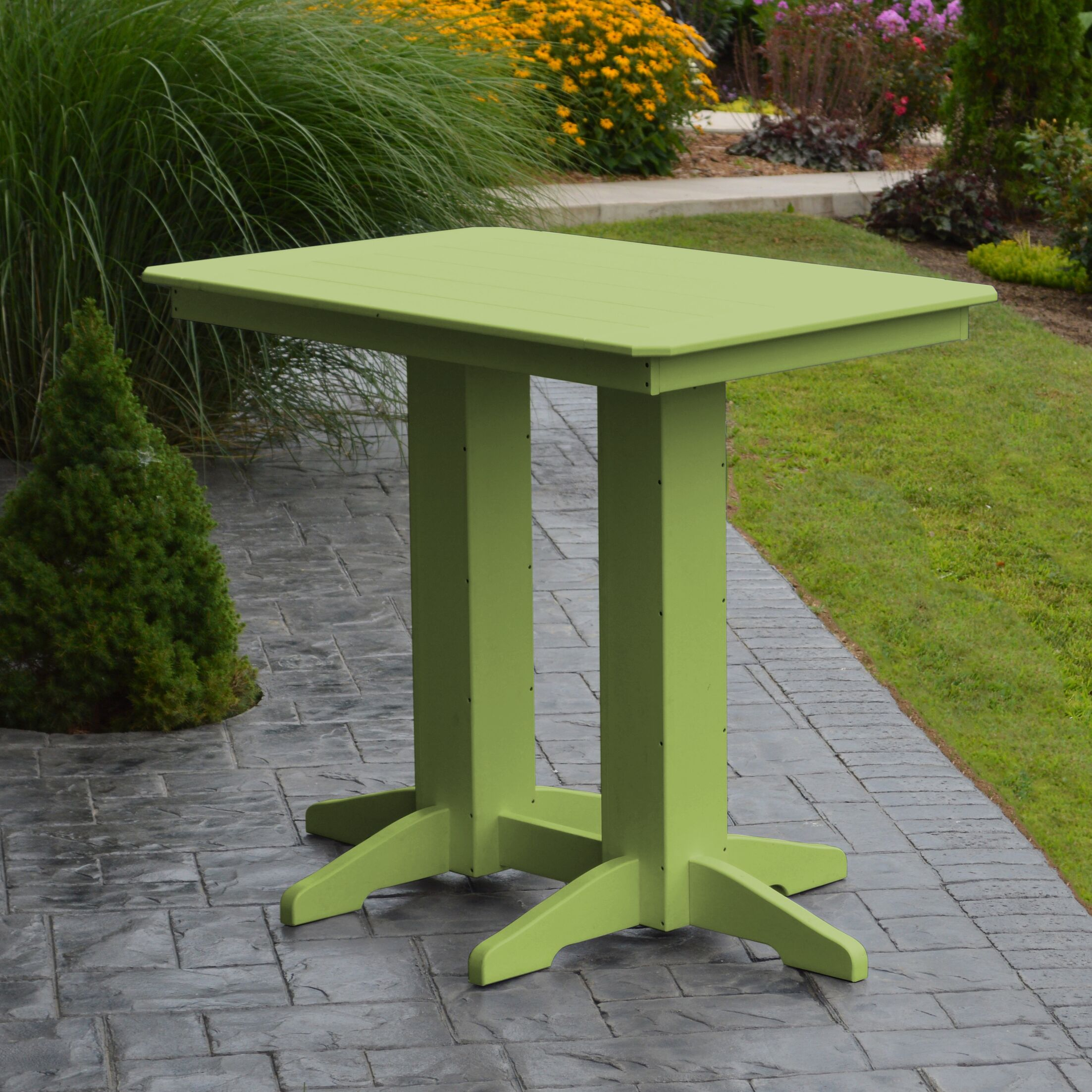 Nettie Bar Table Color: Lime Green, Table Size: 48
