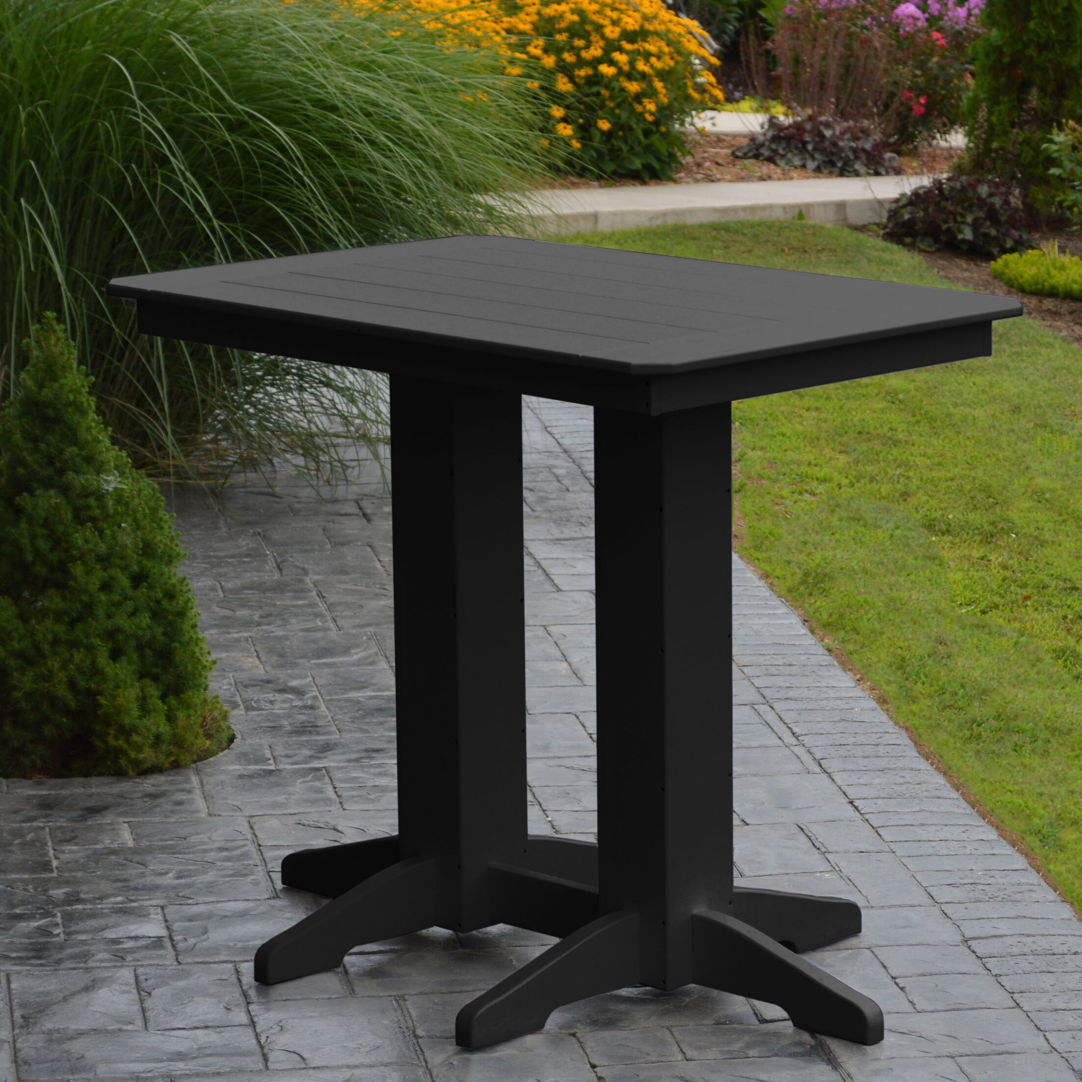 Nettie Bar Table Color: Black, Table Size: 48