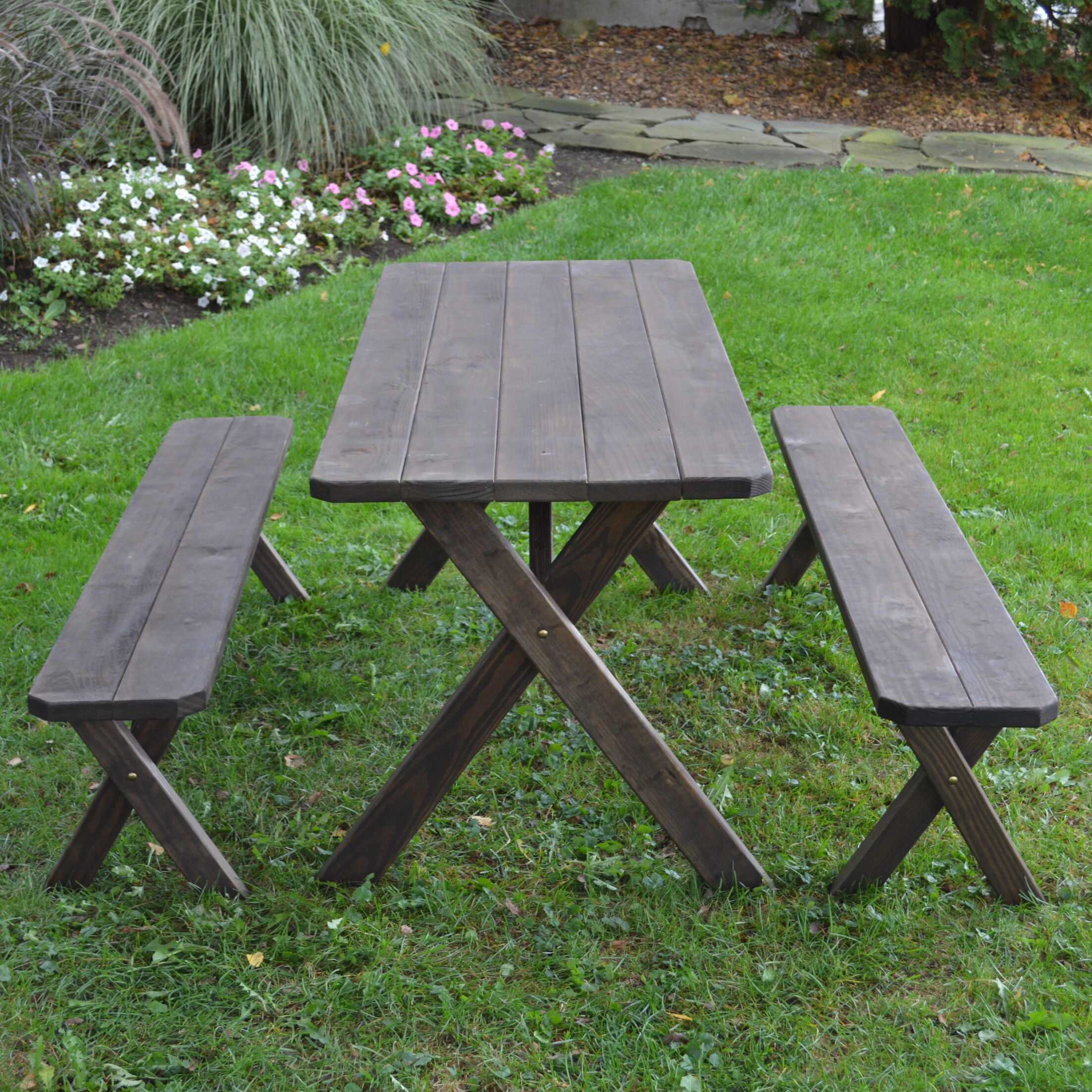 Stockport Pine Cross-leg Picnic Table with 2 Benches Finish: Walnut Stain