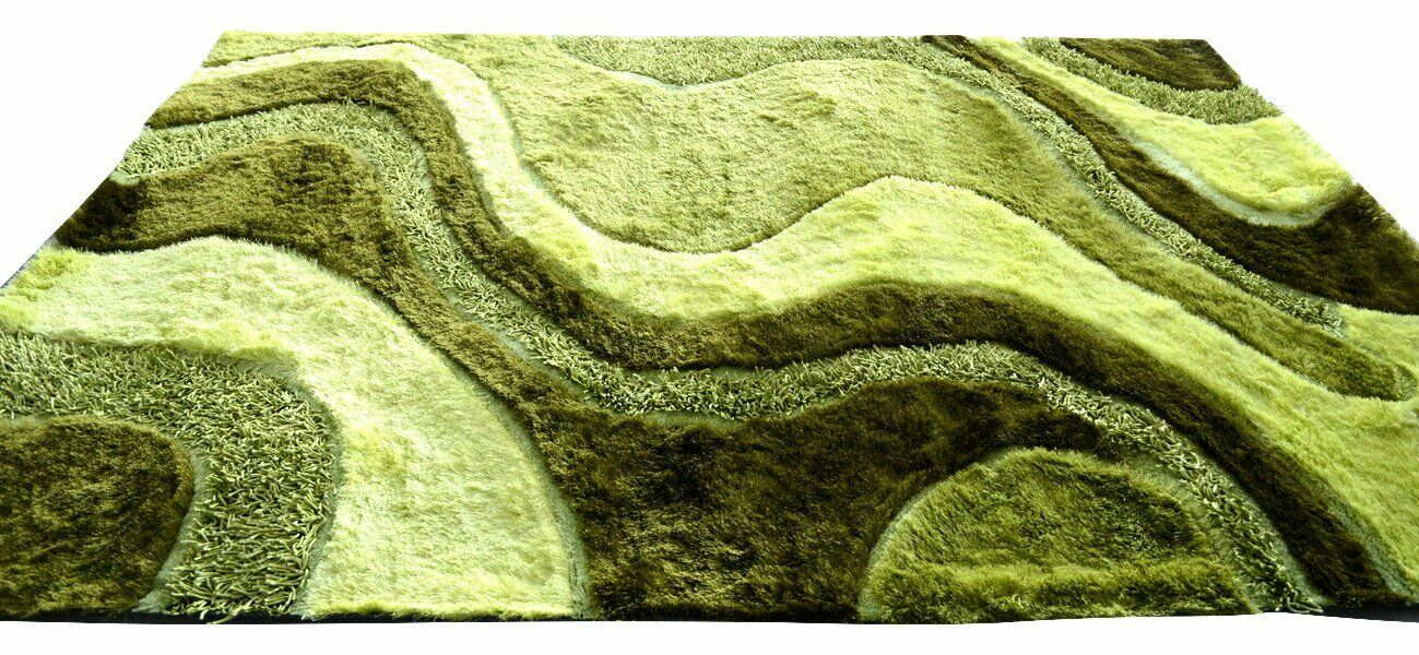 Shaggy Carpet Color: Green, Rug Size: 5' x 8'