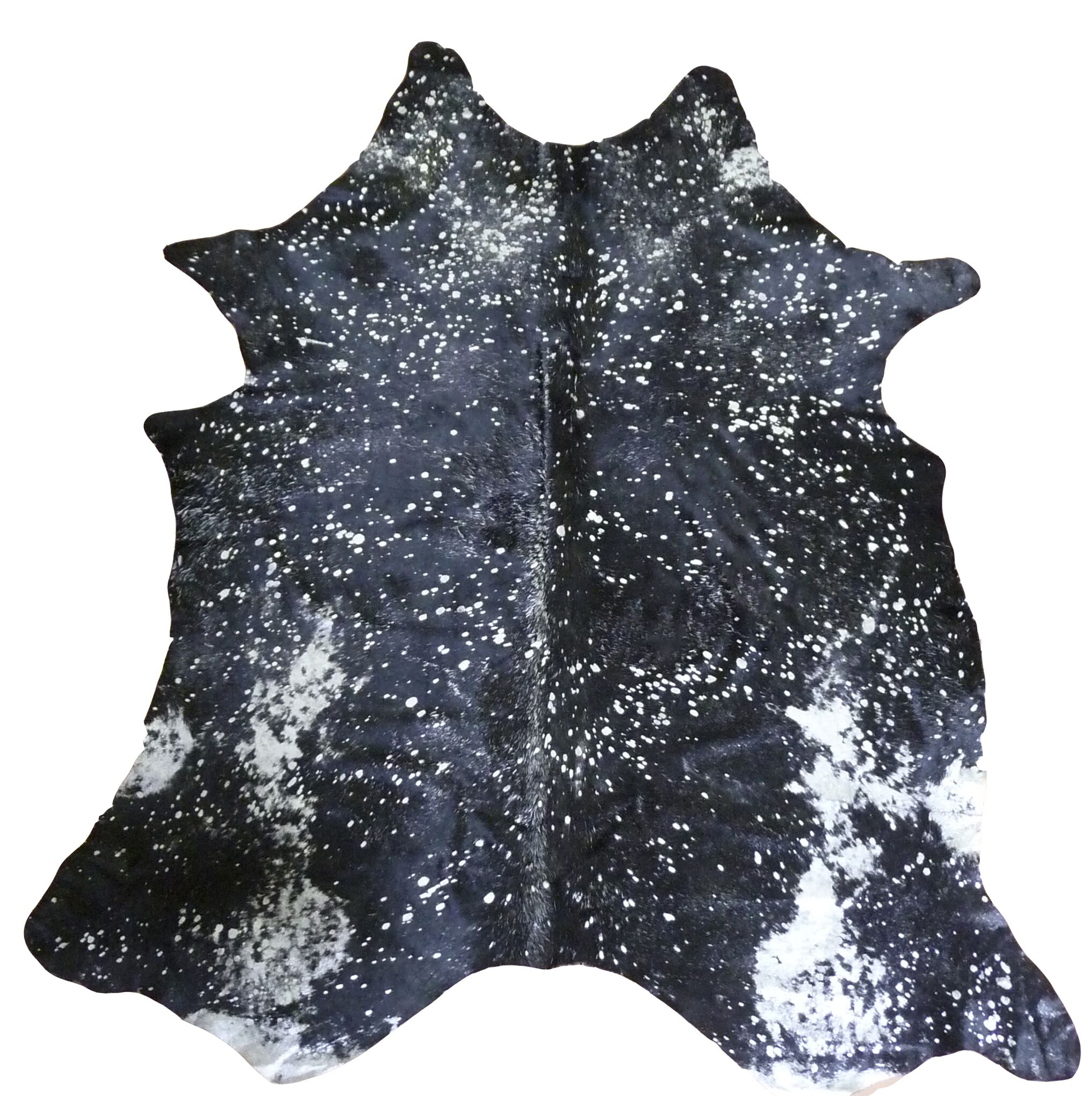 Extra Large Brazilian Cowhide Silver & Black Area Rug
