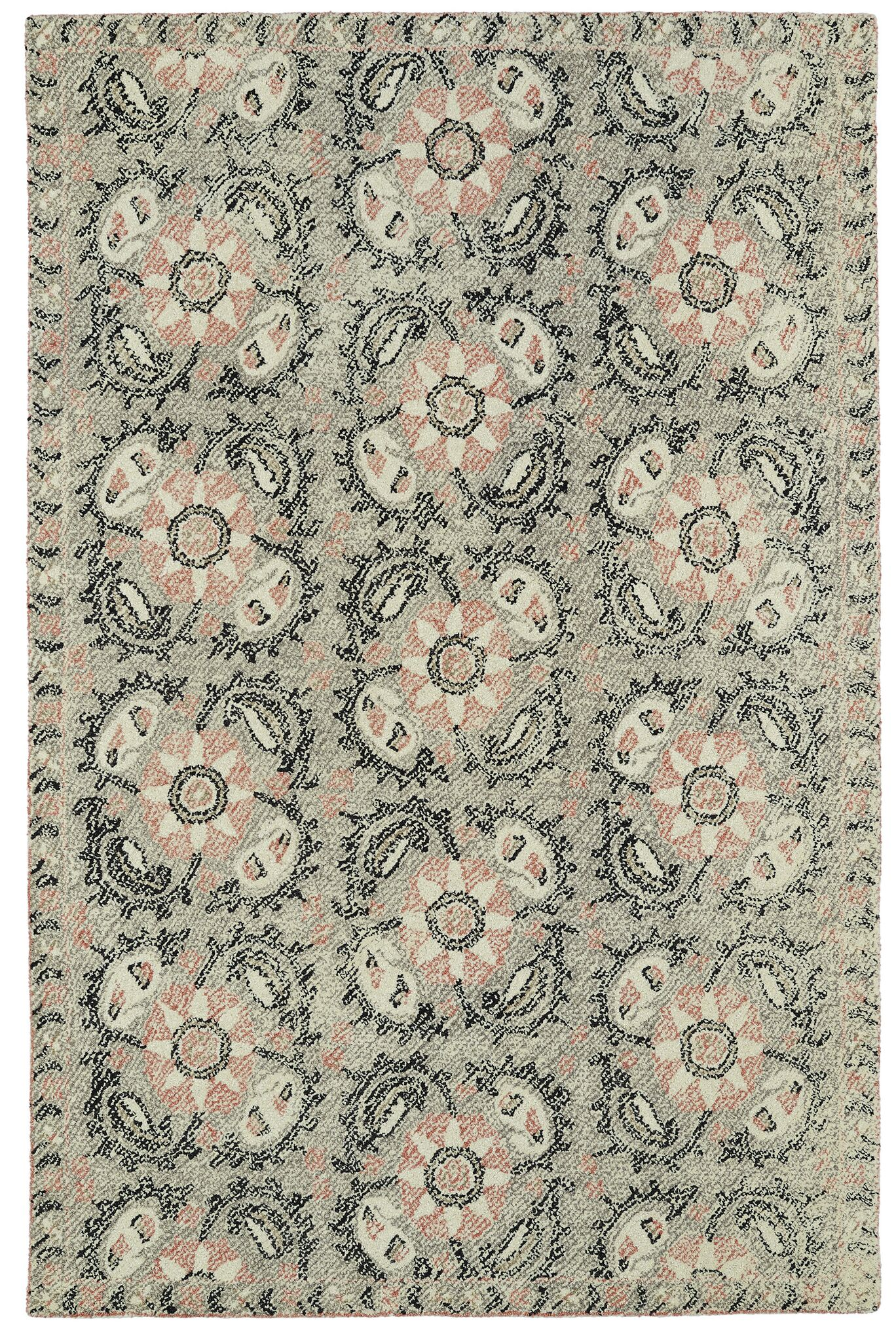 Valenzano Hand-Tufted Gray/Black Area Rug Rug Size: Rectangle 3'6