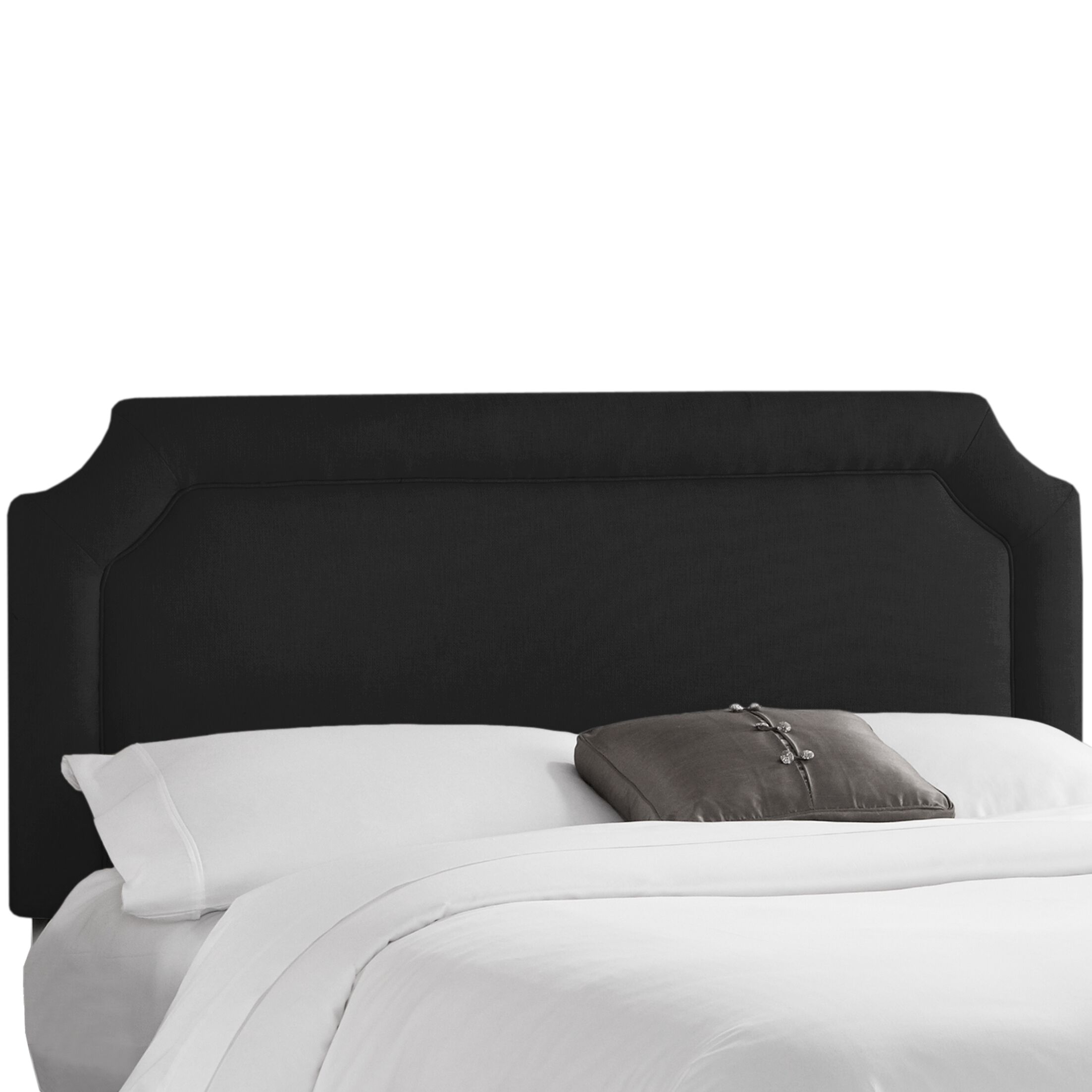 Sandia Notched Upholstered Panel Headboard Size: Queen, Upholstery: Klein Black