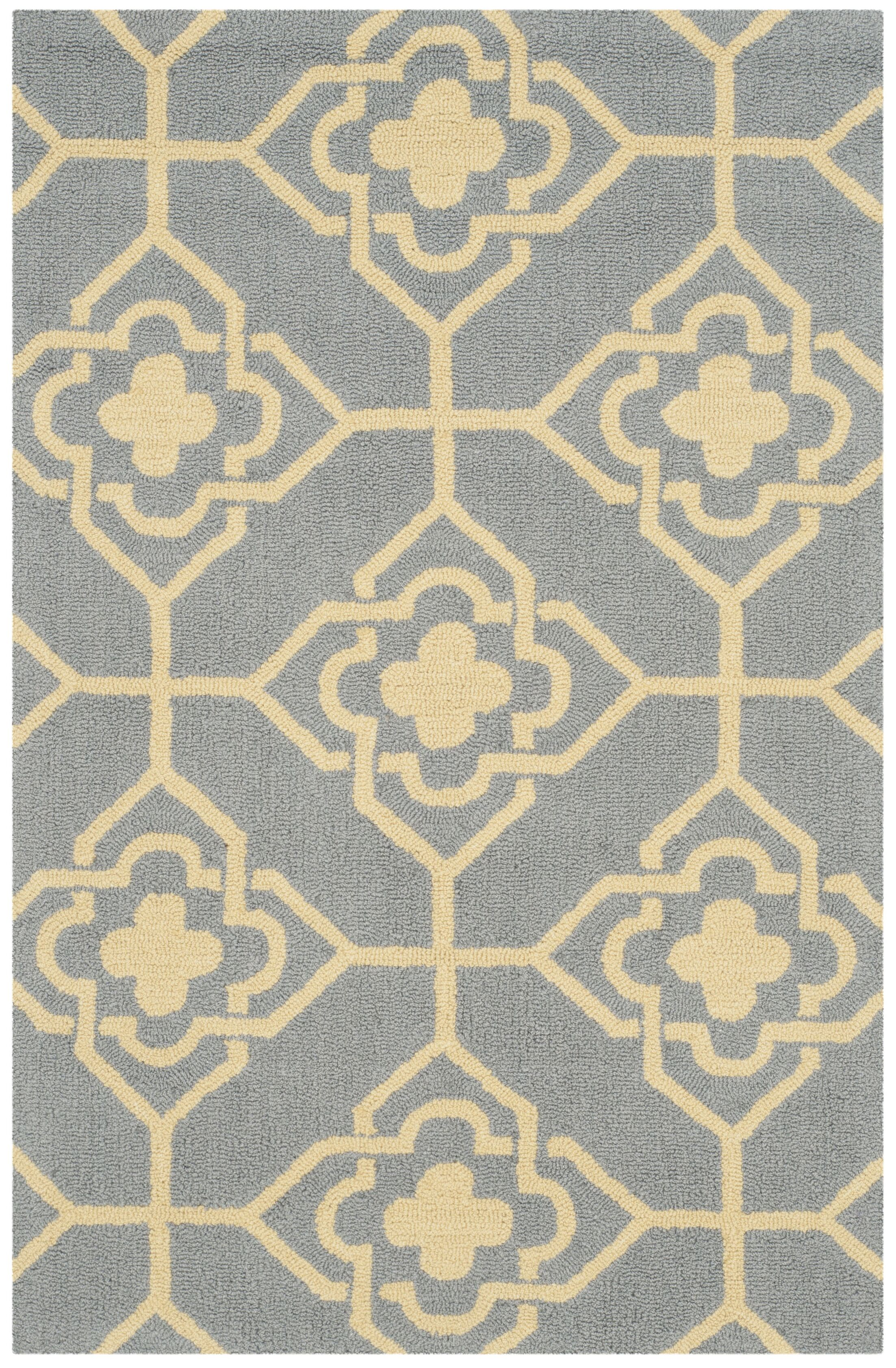 Greenbaum Hand-Hooked Gray/Gold Area Rug Rug Size: Rectangle 3'6