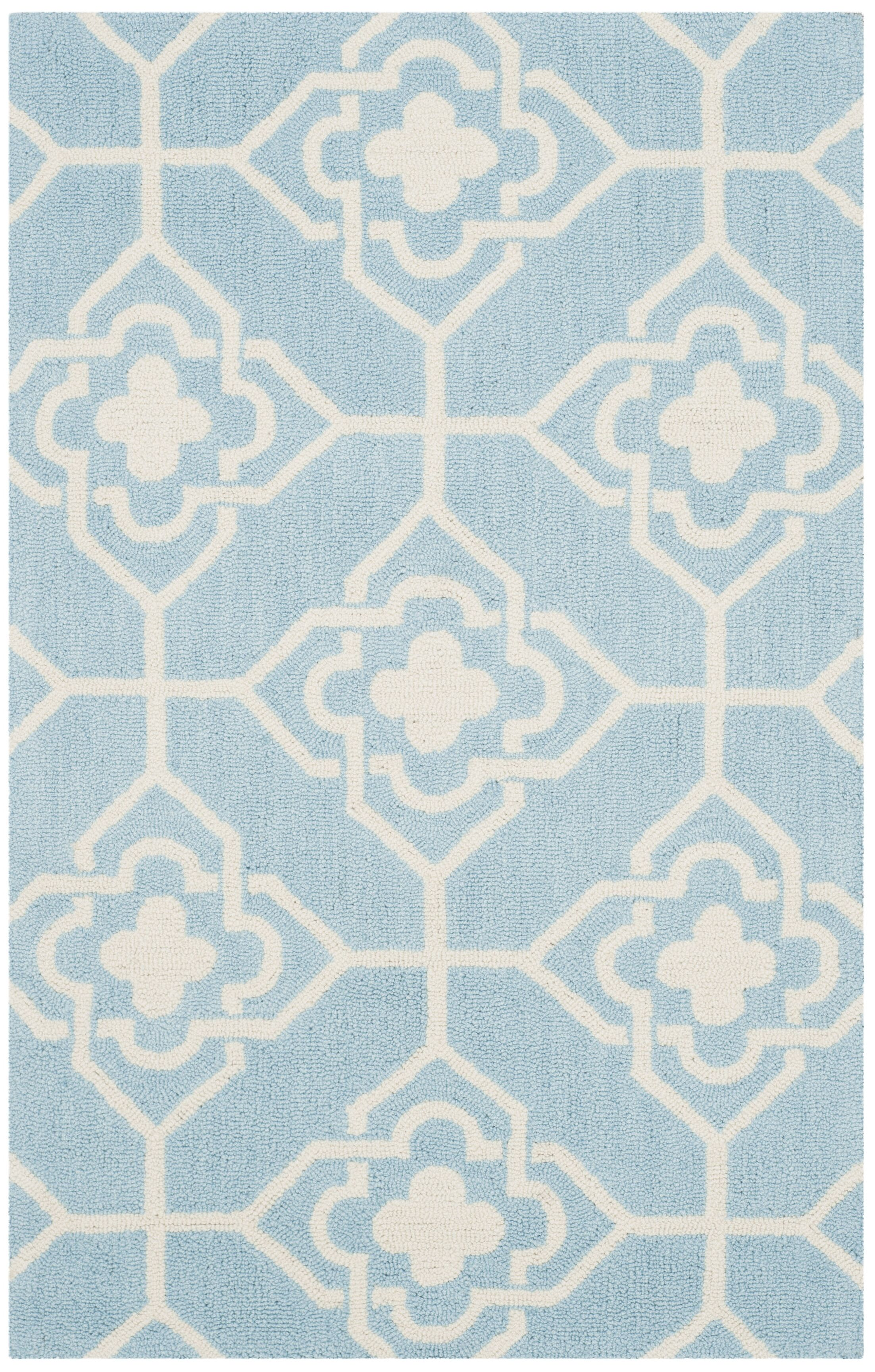 Rue Sauvage Hand-Hooked Light Blue/Ivory Indoor/Outdoor Area Rug Rug Size: Rectangle 8' x 10'