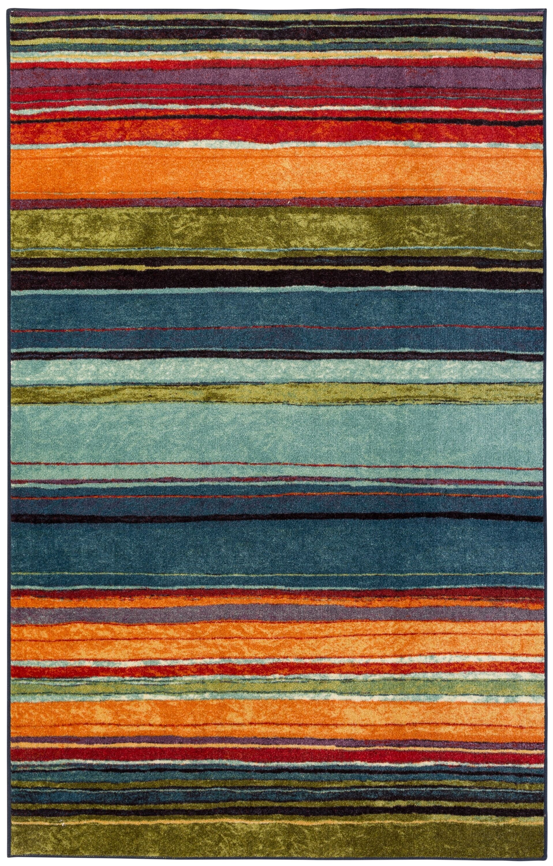 Bartlett Las Cazuela Blue/Orange Area Rug Rug Size: Square 10'