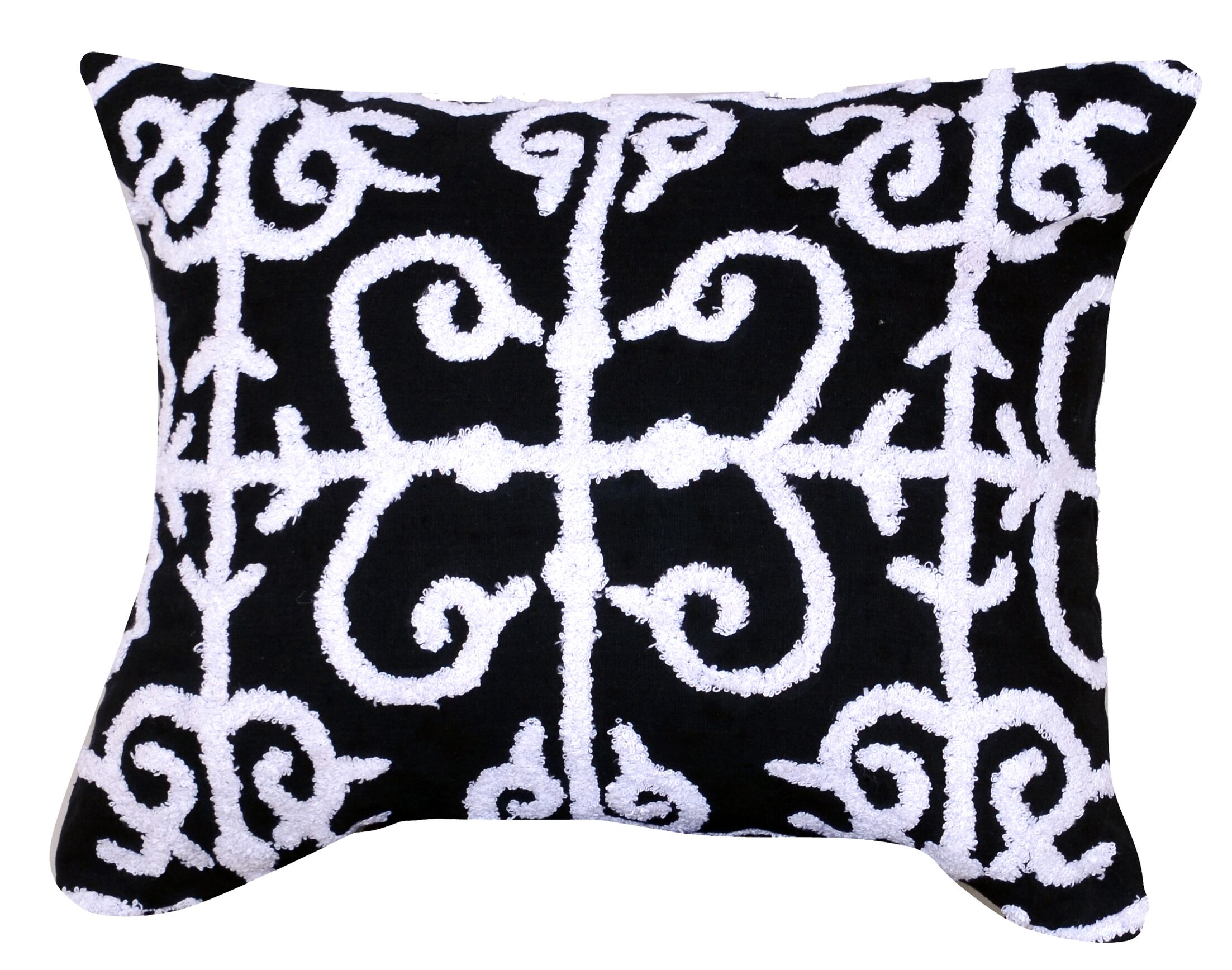 Kennison Embroidered Cotton Lumbar Pillow in Color: Black