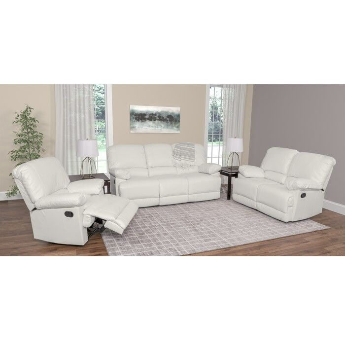 Condron Reclining 3 Piece Living Room Set Upholstery: White