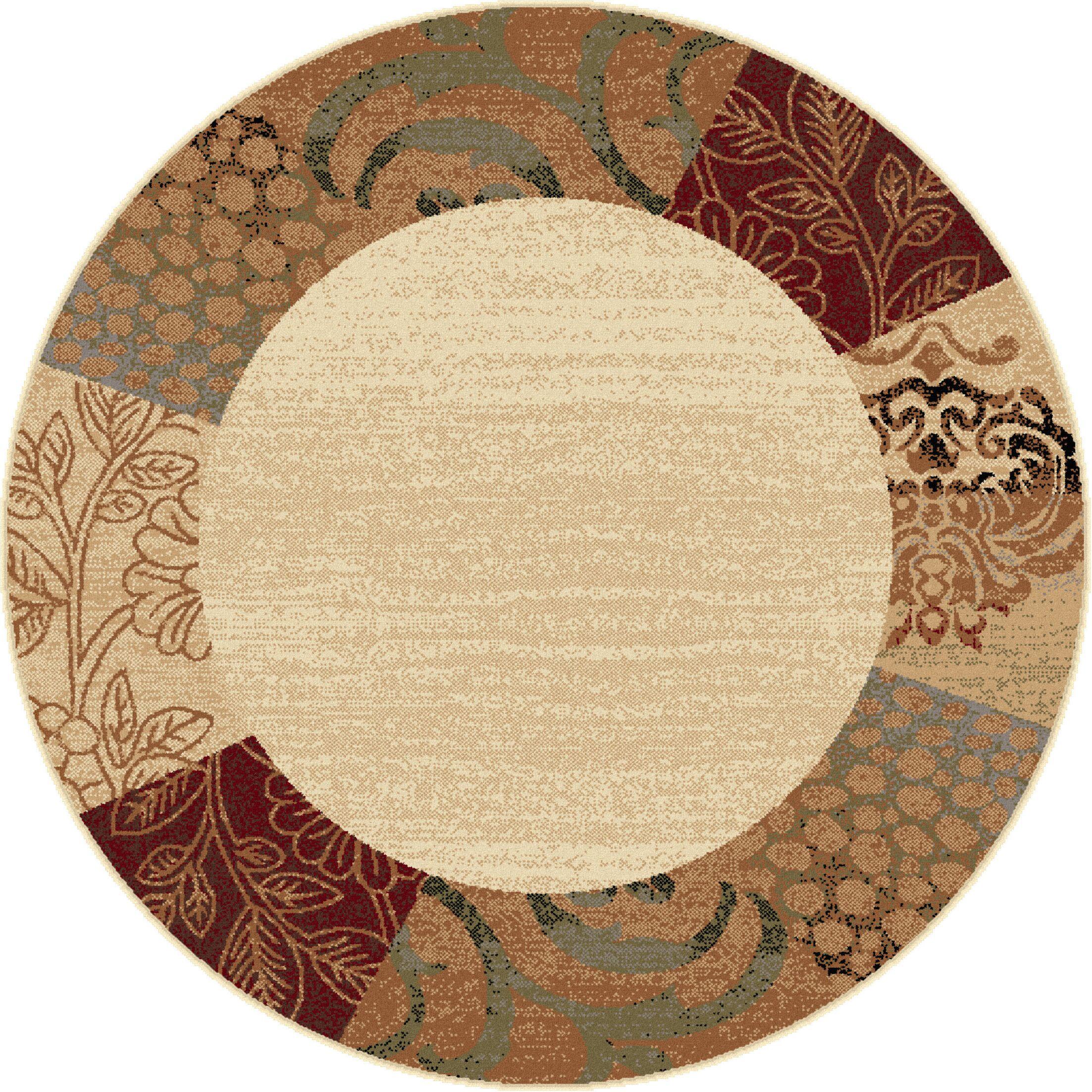 Wilcox Beige Floral Area Rug Rug Size: 5'3'' Round