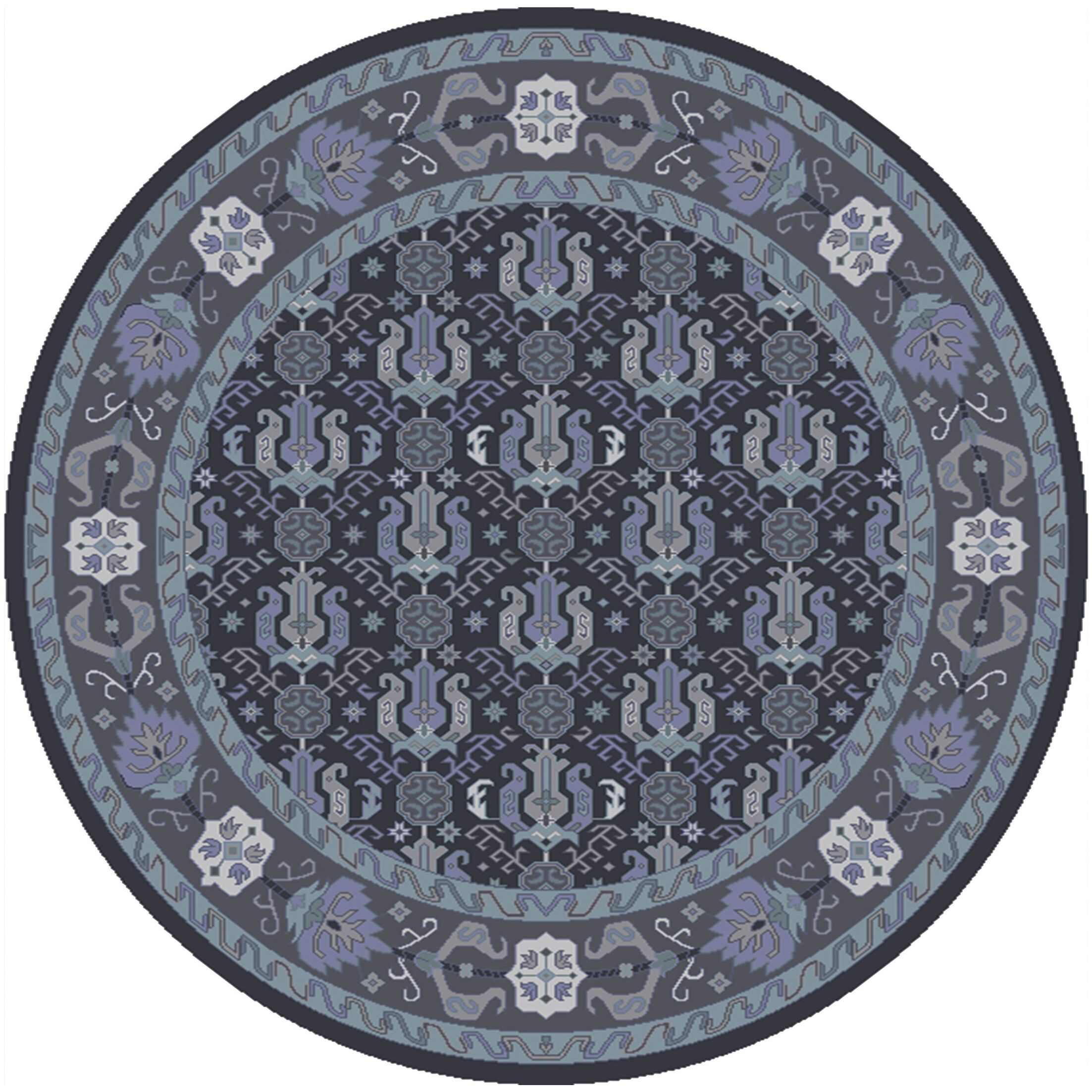 Orland Hand-Knotted Dark Purple Area Rug Rug Size: Round 8'