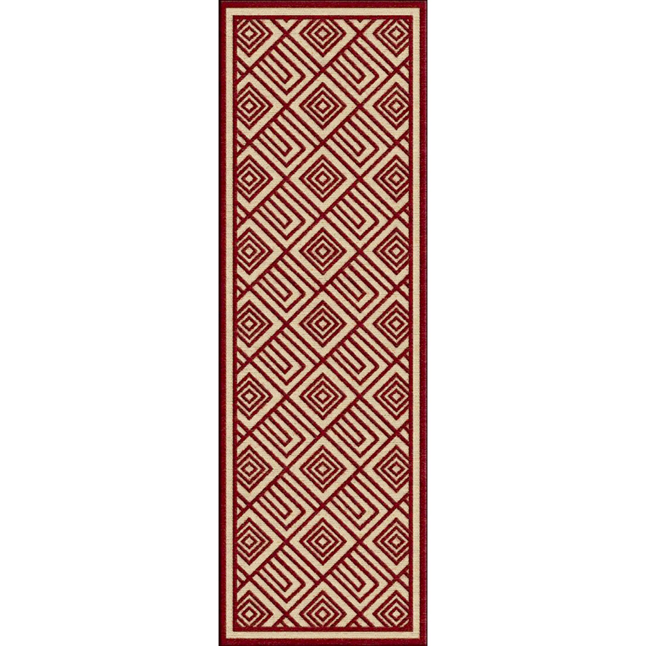 Vassar Dark Red/Khaki Indoor/Outdoor Area Rug Rug Size: Rectangle 8'8