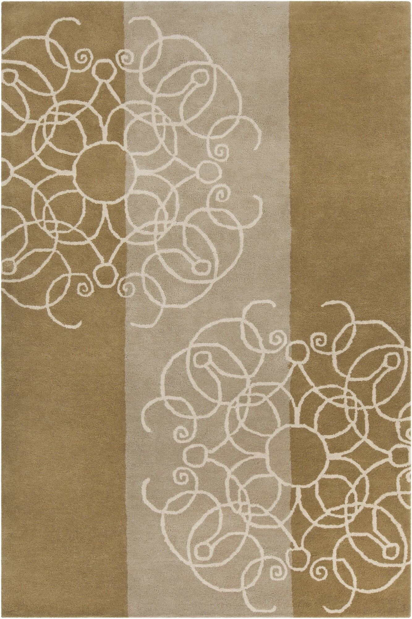 Willow Hand Tufted Wool Brown/Cream Area Rug Rug Size: 5' x 7'6