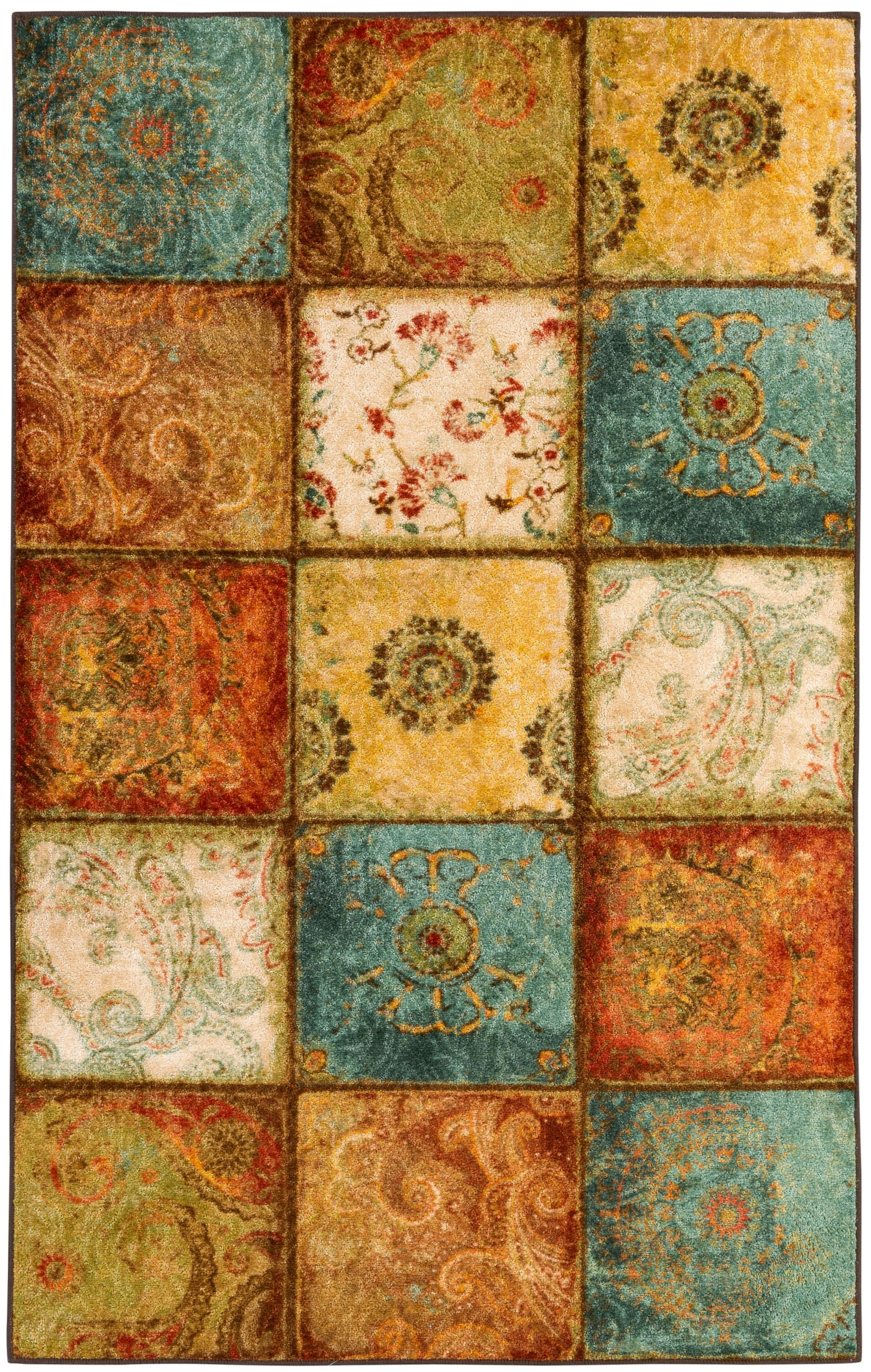 Aftonshire Rust Red/Blue Area Rug Rug Size: Rectangle 5' x 8'