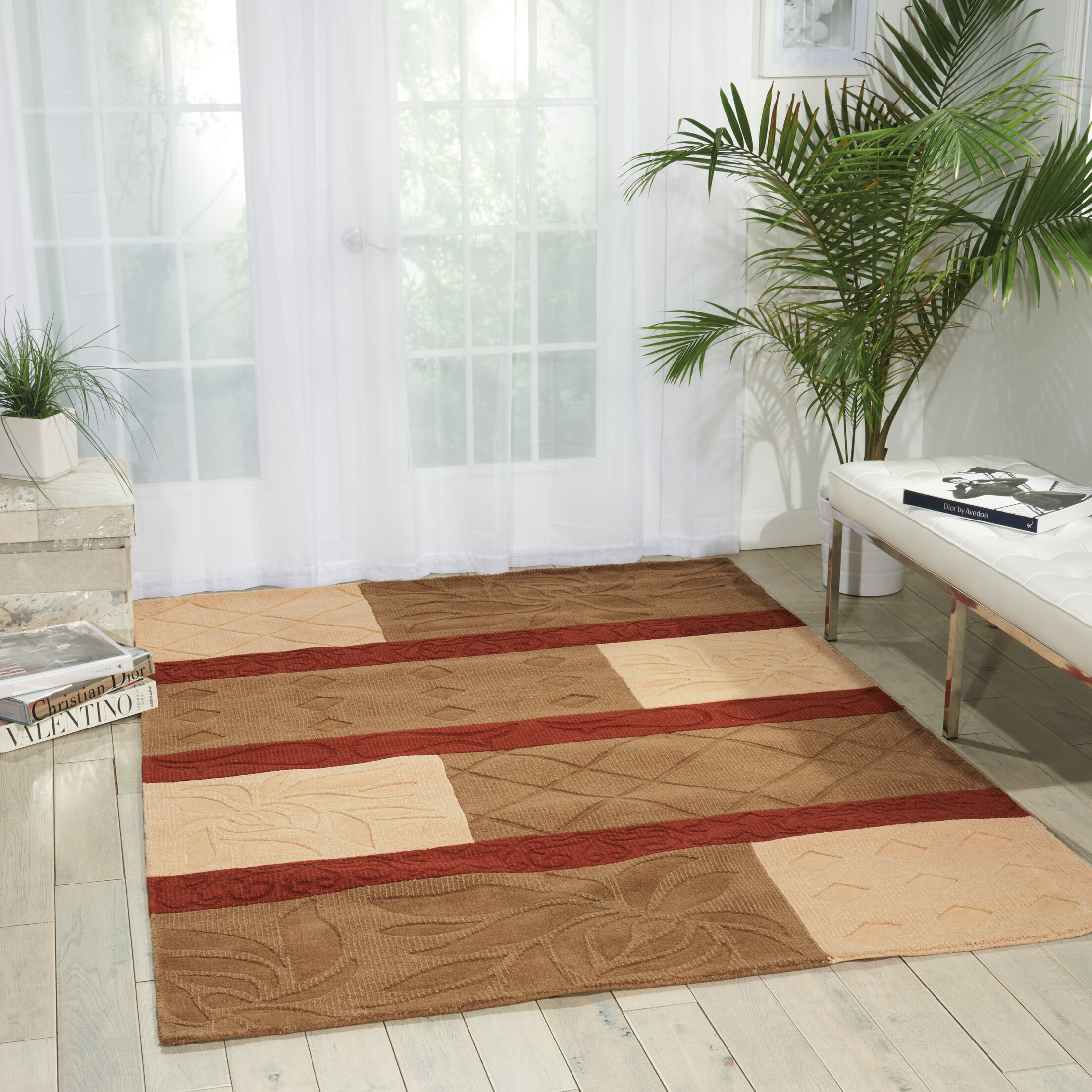 Aviston Hand-Tufted Red/Beige Area Rug Rug Size: Rectangle 5'6