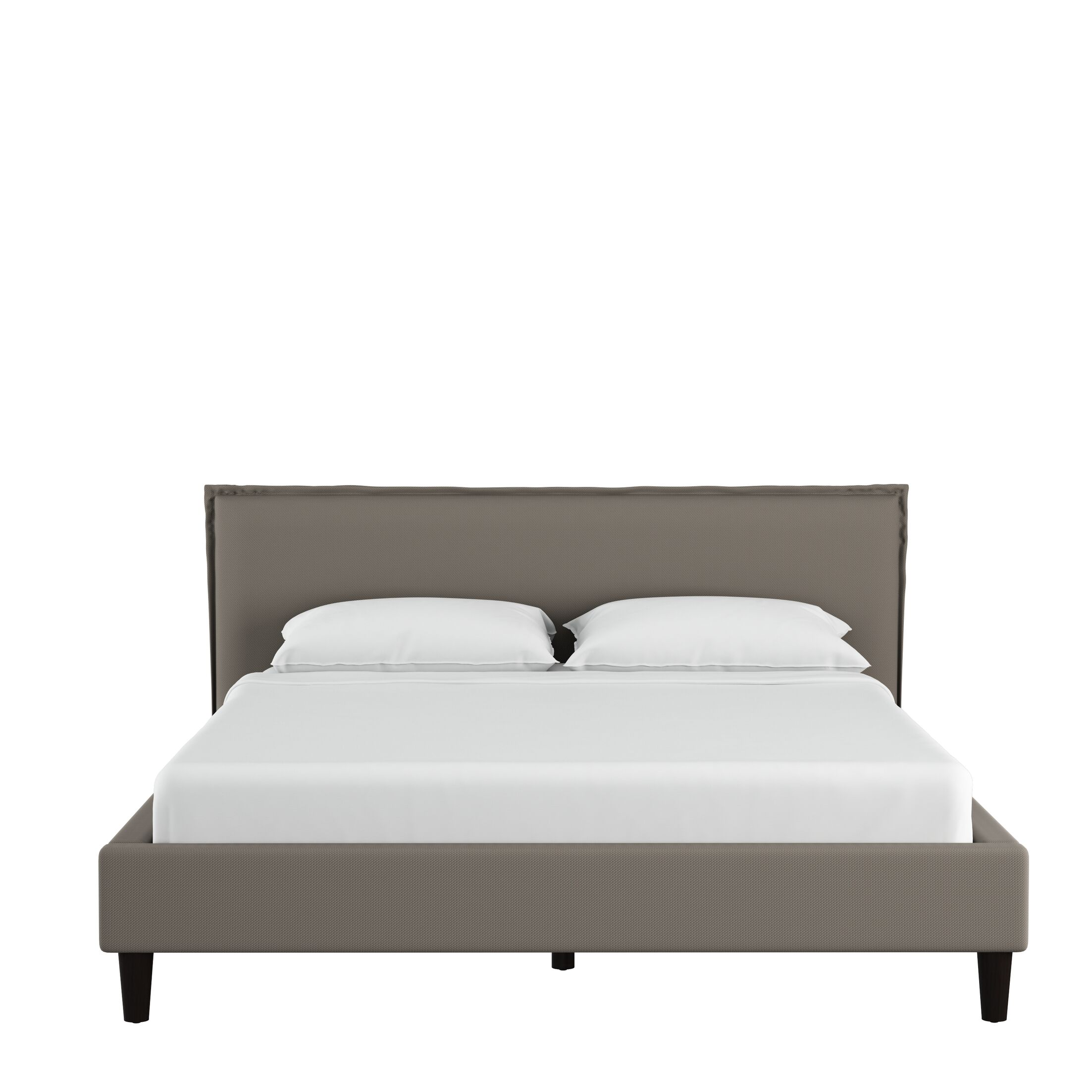 Highview Seamed Duck Upholstered Panel Bed Color: Gray, Size: King