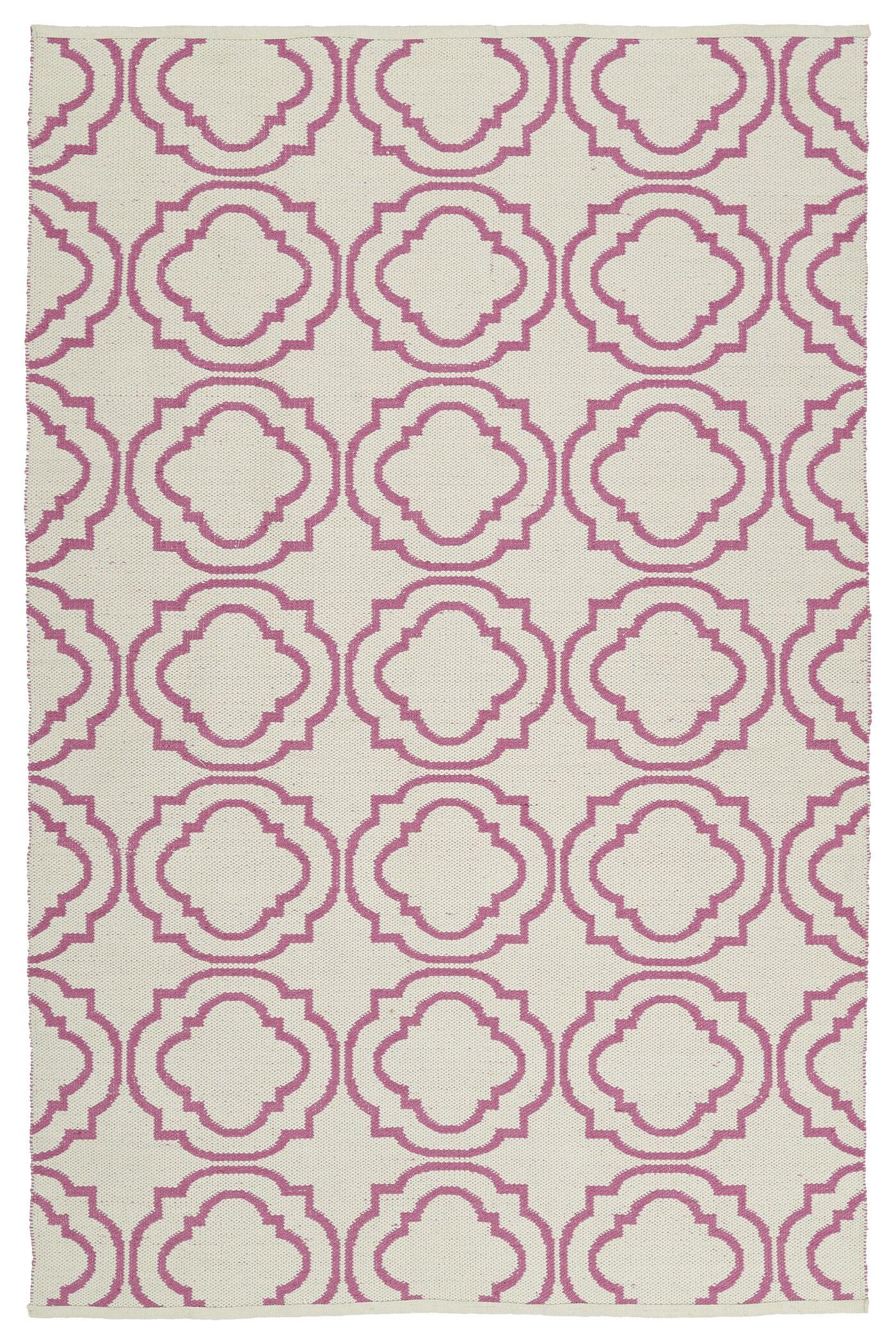 Bockman Cream/Pink Indoor/Outdoor Area Rug Rug Size: Rectangle 8' x 10'