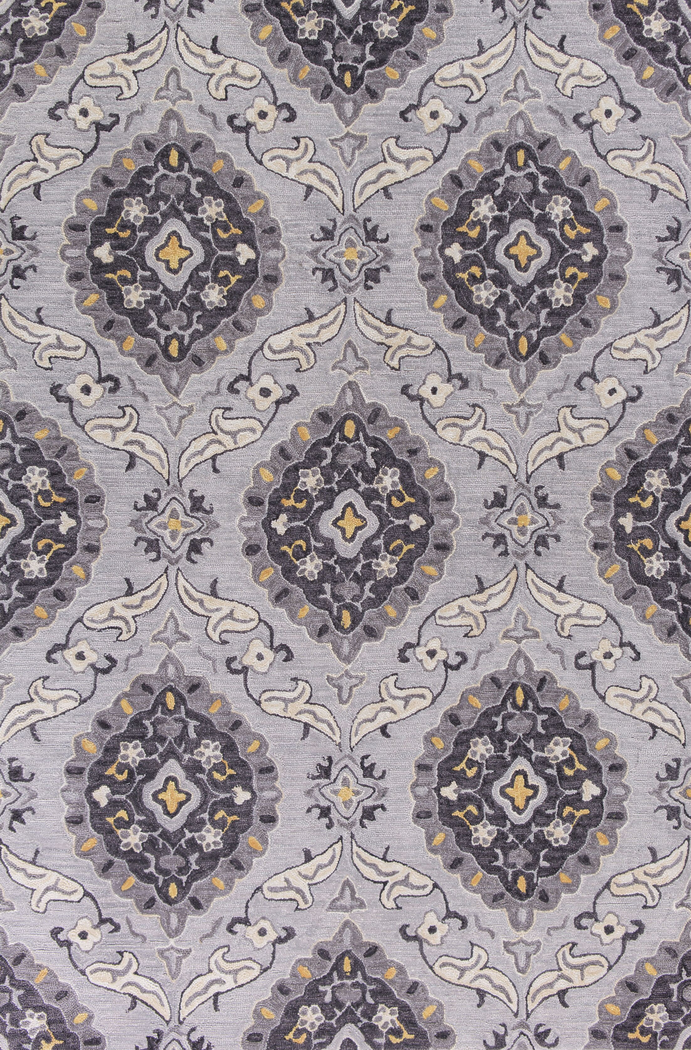 Guillory Hand-Hooked Gray/Yellow Area Rug Rug Size: Rectangle 5' x 7'6